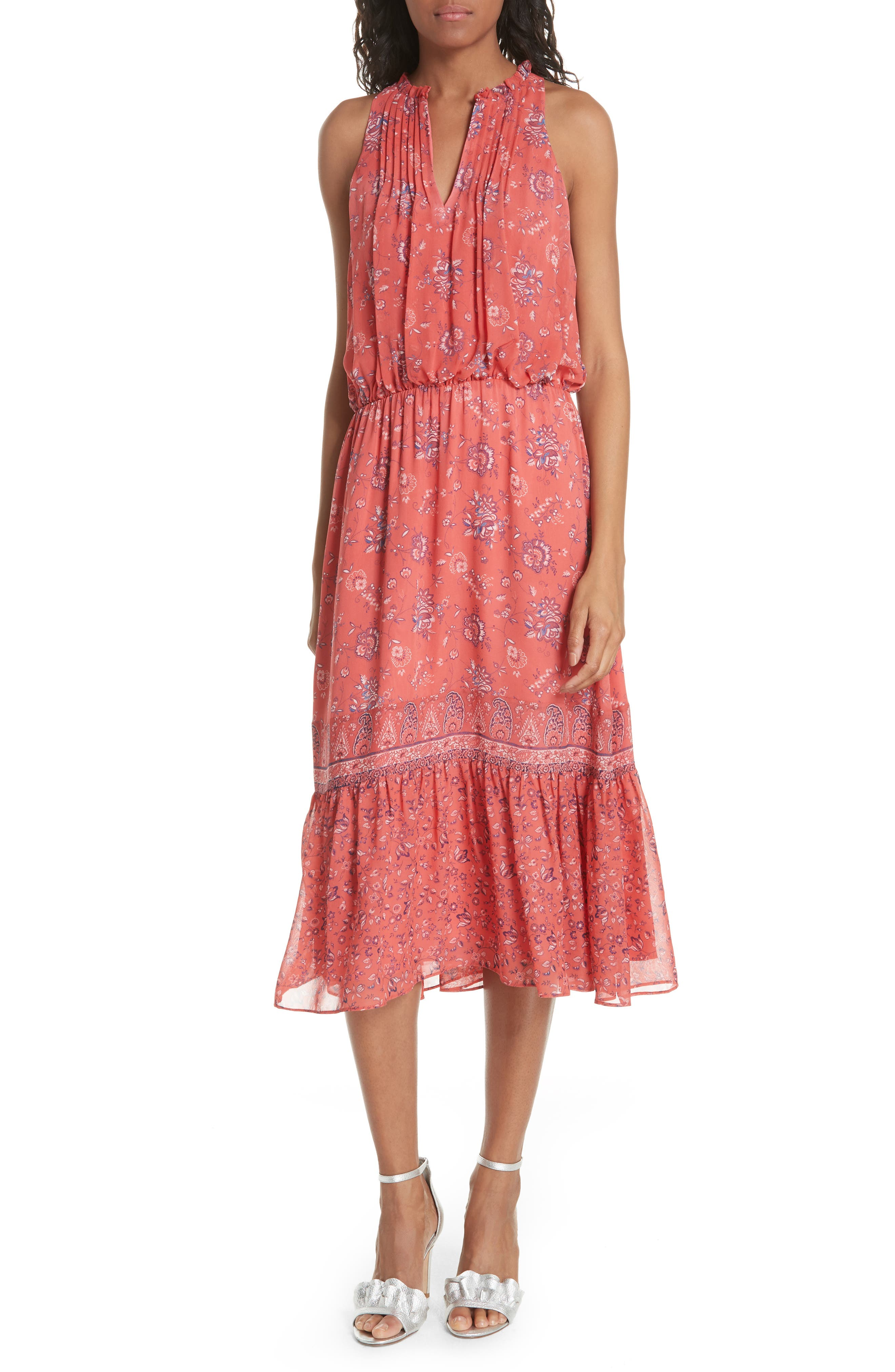 Chara Print Silk Midi Dress,                             Main thumbnail 1, color,                             606