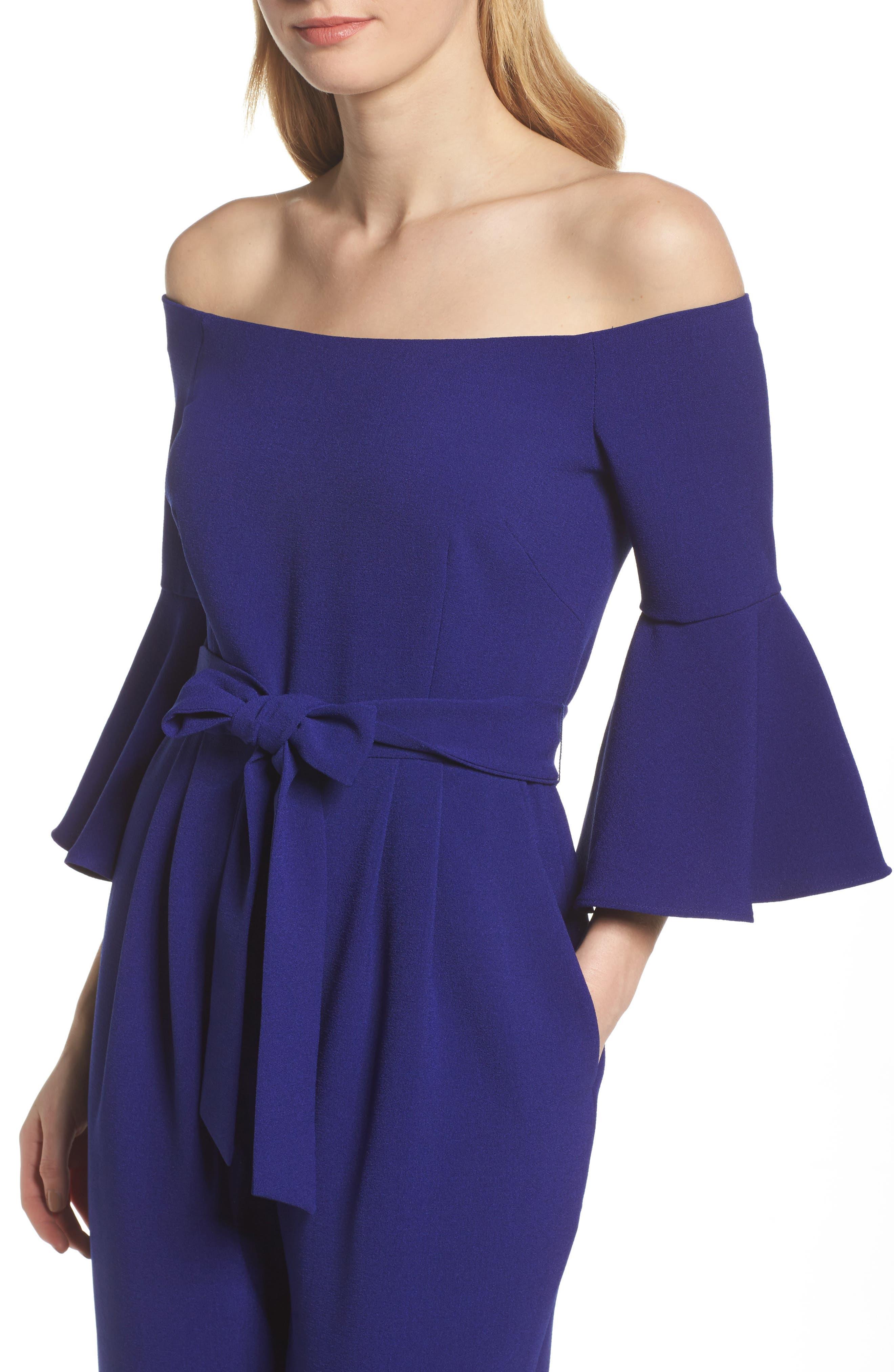 ELIZA J,                             Off the Shoulder Bell Sleeve Slim Leg Jumpsuit,                             Alternate thumbnail 4, color,                             COBALT