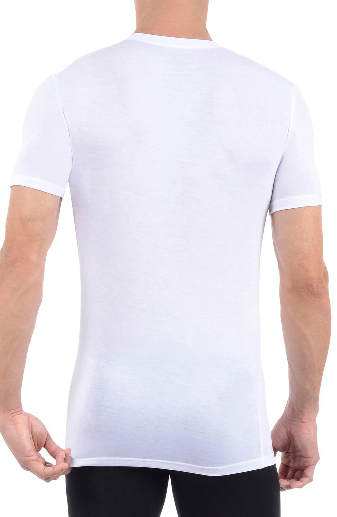 Second Skin High V-Neck Undershirt,                             Alternate thumbnail 2, color,                             WHITE