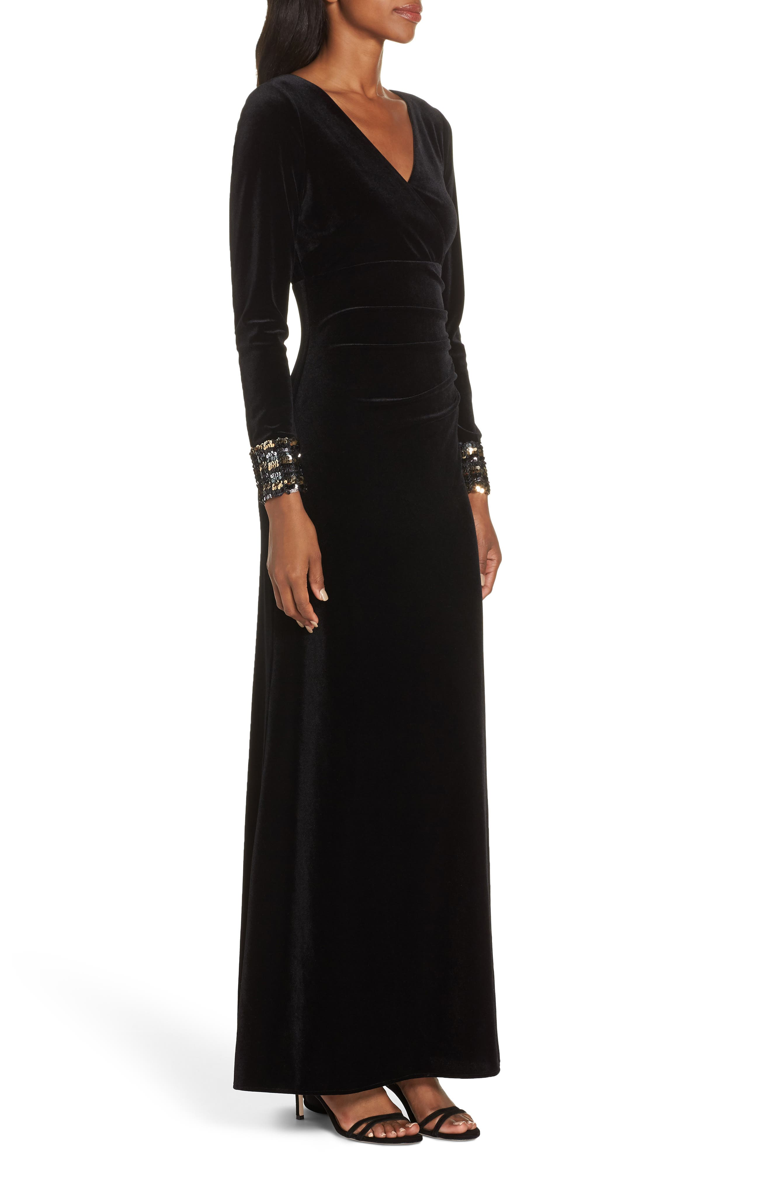 Sequin Cuff Stretch Velvet Gown,                             Alternate thumbnail 3, color,                             BLACK