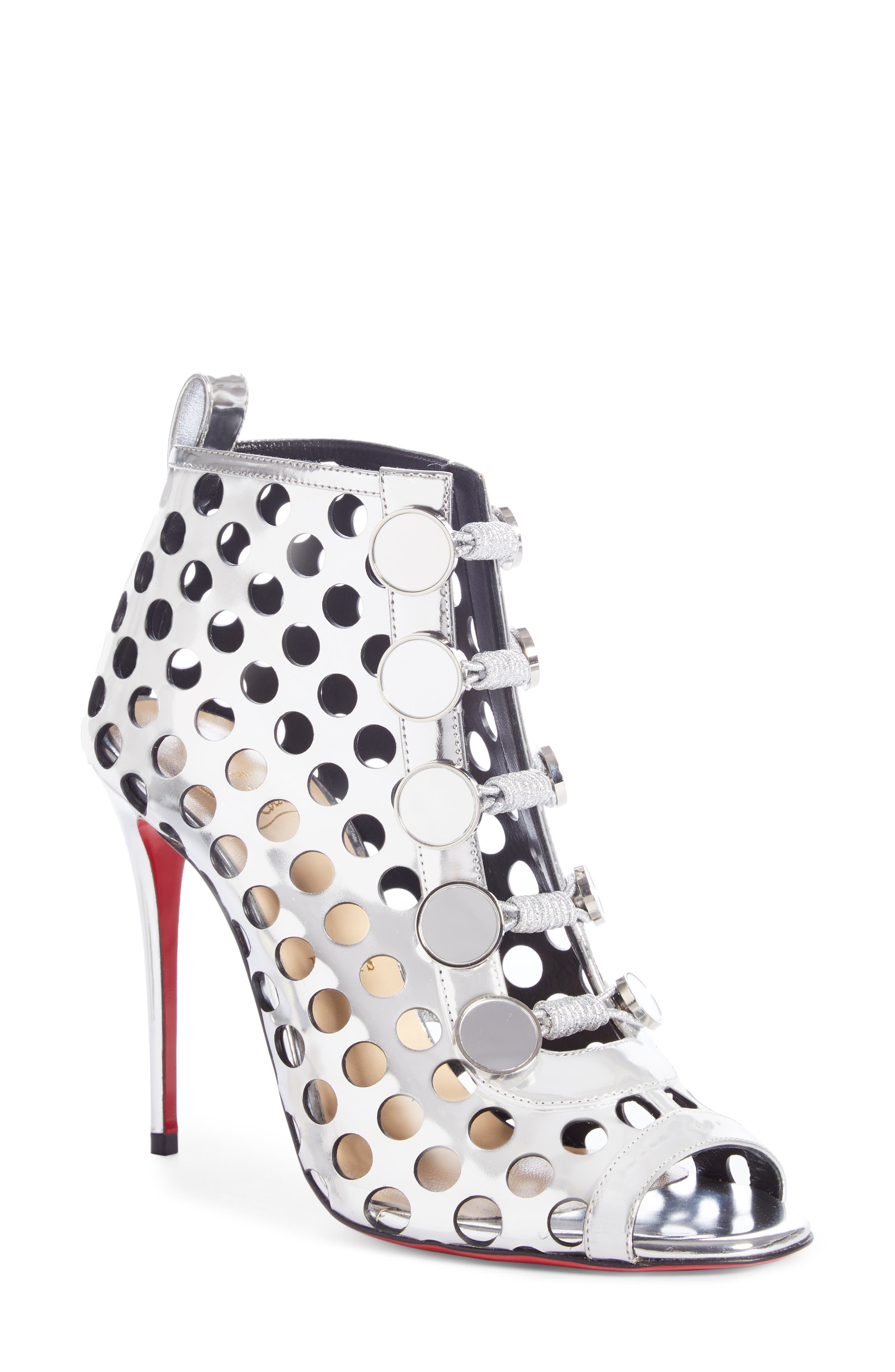 Planetarita Perforated Metallic Bootie,                             Main thumbnail 1, color,                             SILVER