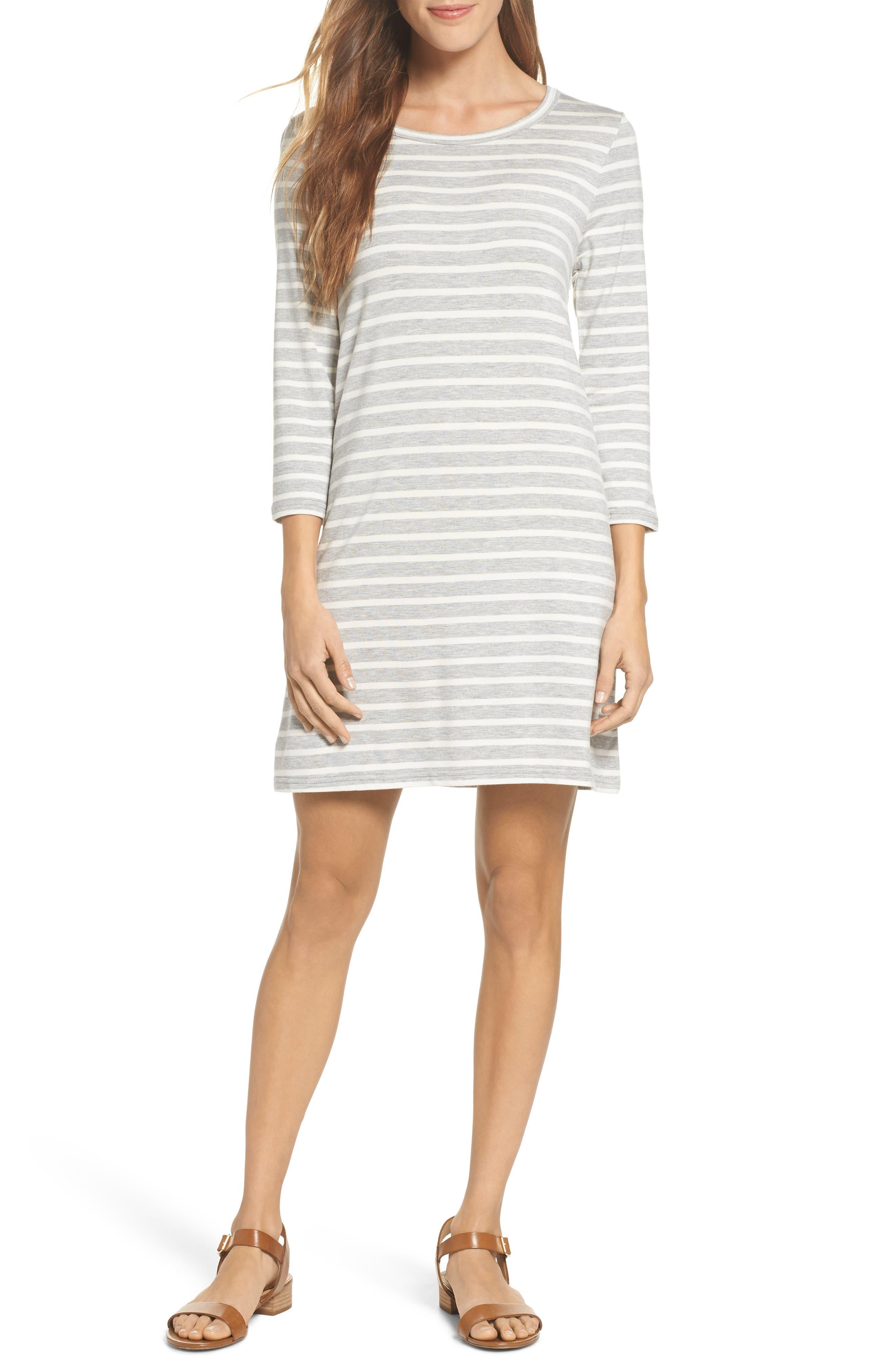 Adelene Stripe Knit Shift Dress,                         Main,                         color, 050