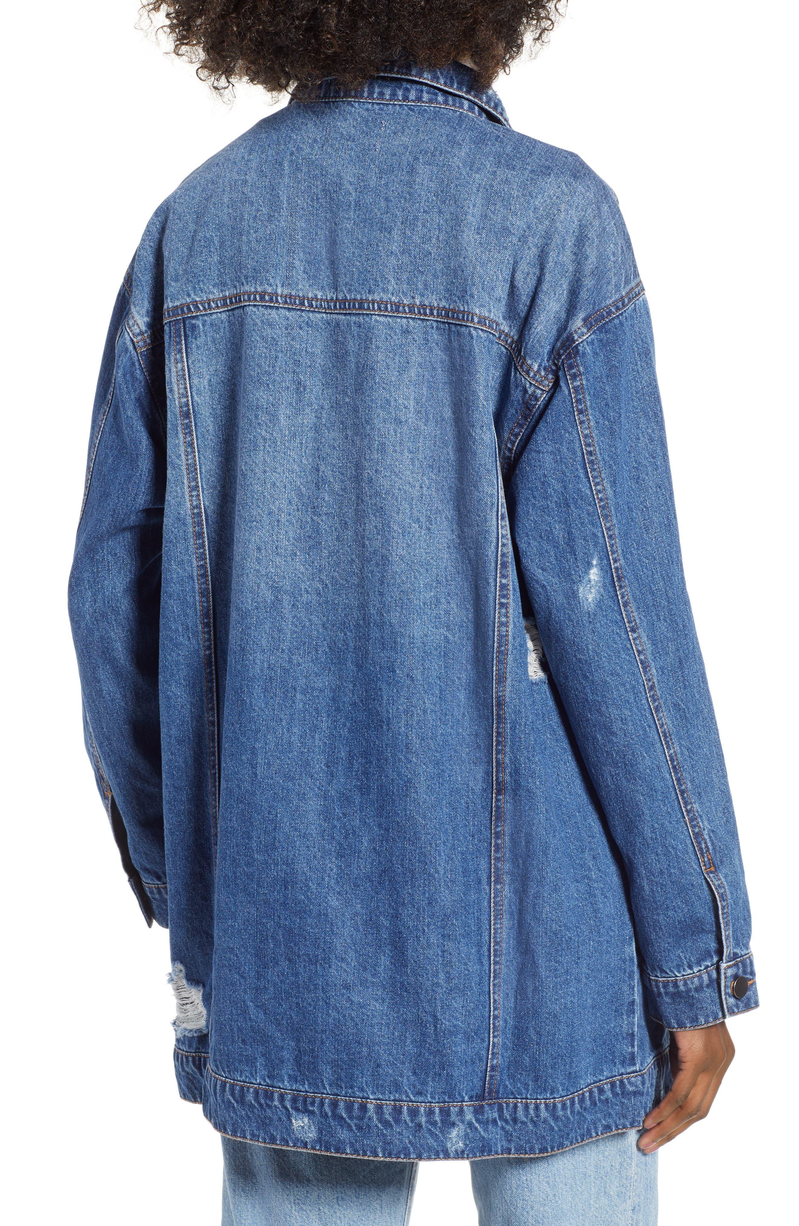 Distressed Longline Denim Jacket,                             Alternate thumbnail 2, color,                             ADVENTURA WASH