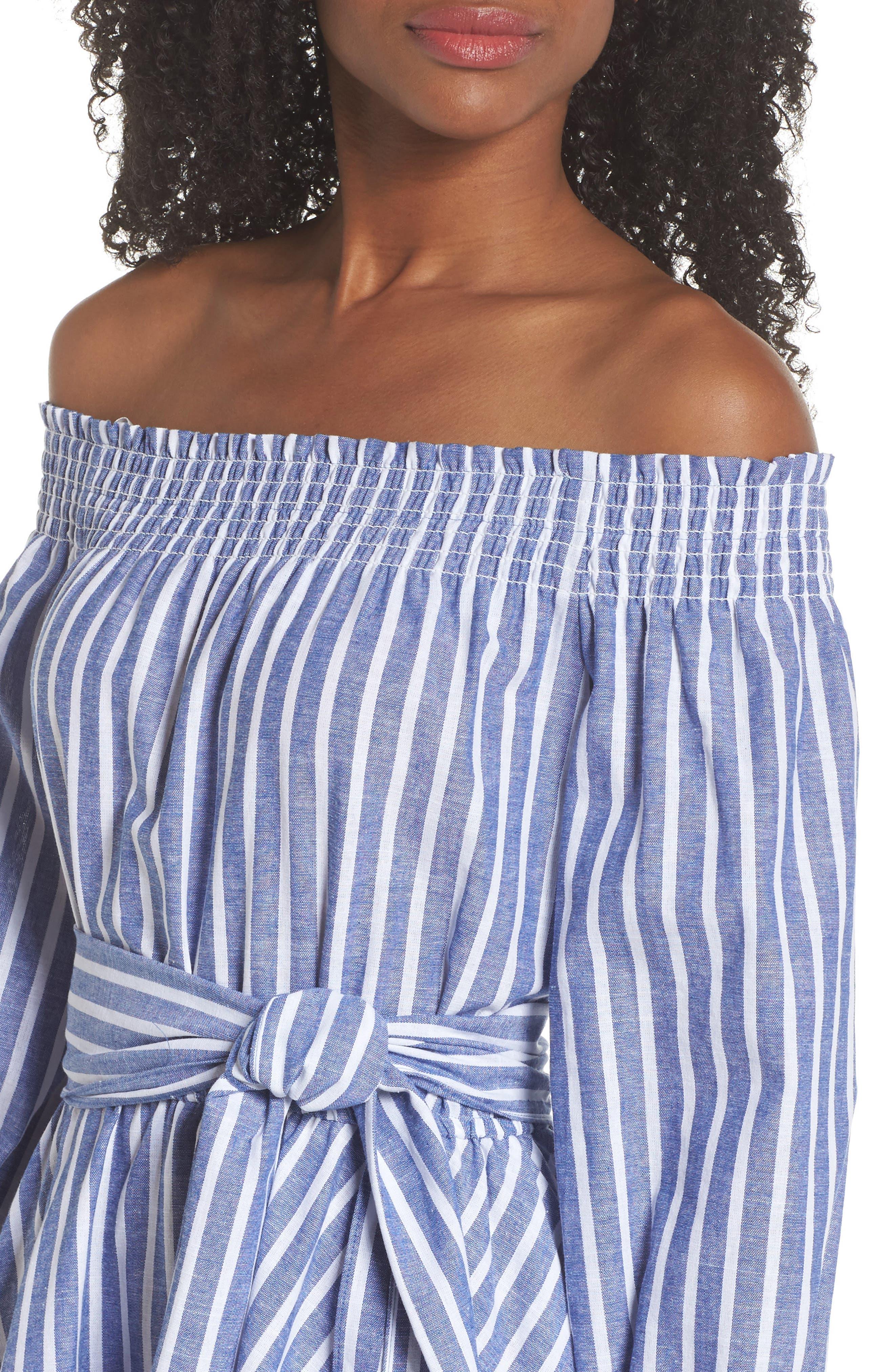 Off the Shoulder Tie Waist Dress,                             Alternate thumbnail 4, color,                             407