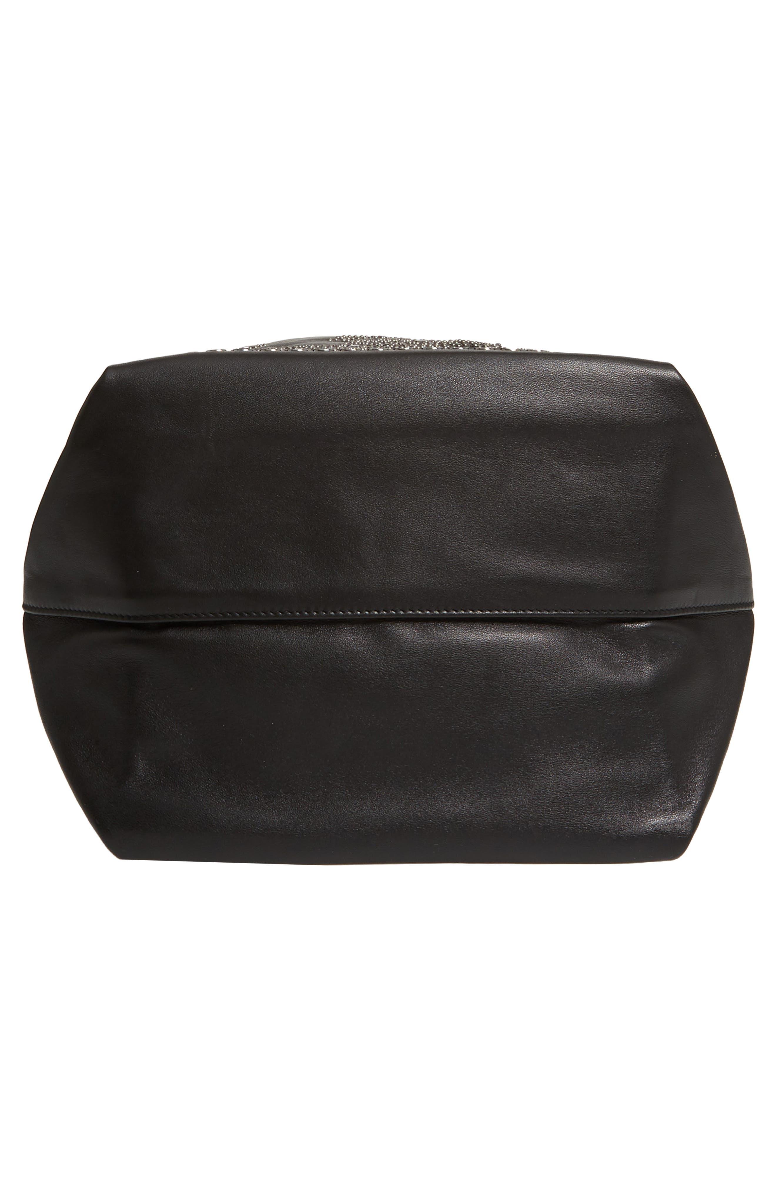 Teddy Bandana Studded Leather Bucket Bag,                             Alternate thumbnail 6, color,                             NOIR