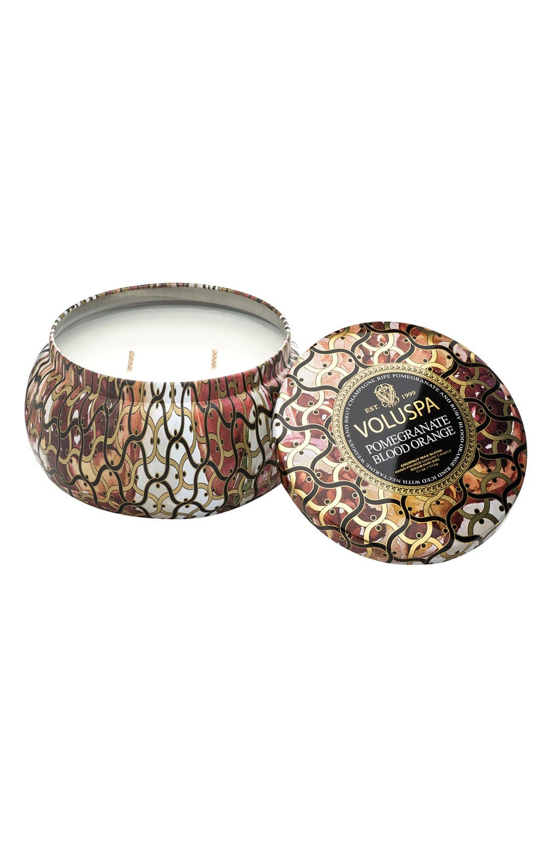 Maison Noir Maison Metallo Two-Wick Candle,                         Main,                         color, POMEGRANATE BLOOD ORANGE