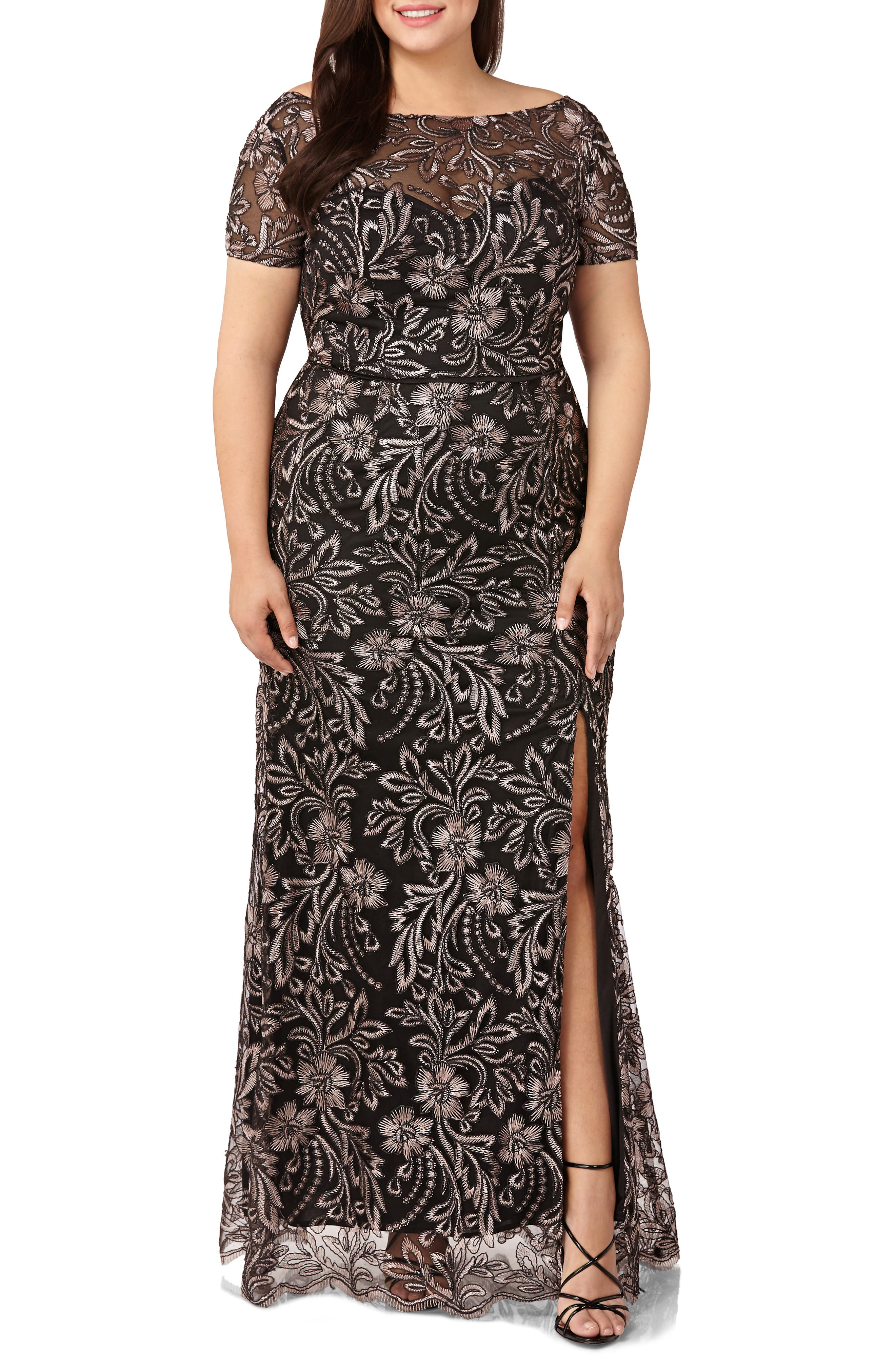 Plus Size Js Collections Embroidered Mesh Trumpet Gown, Black