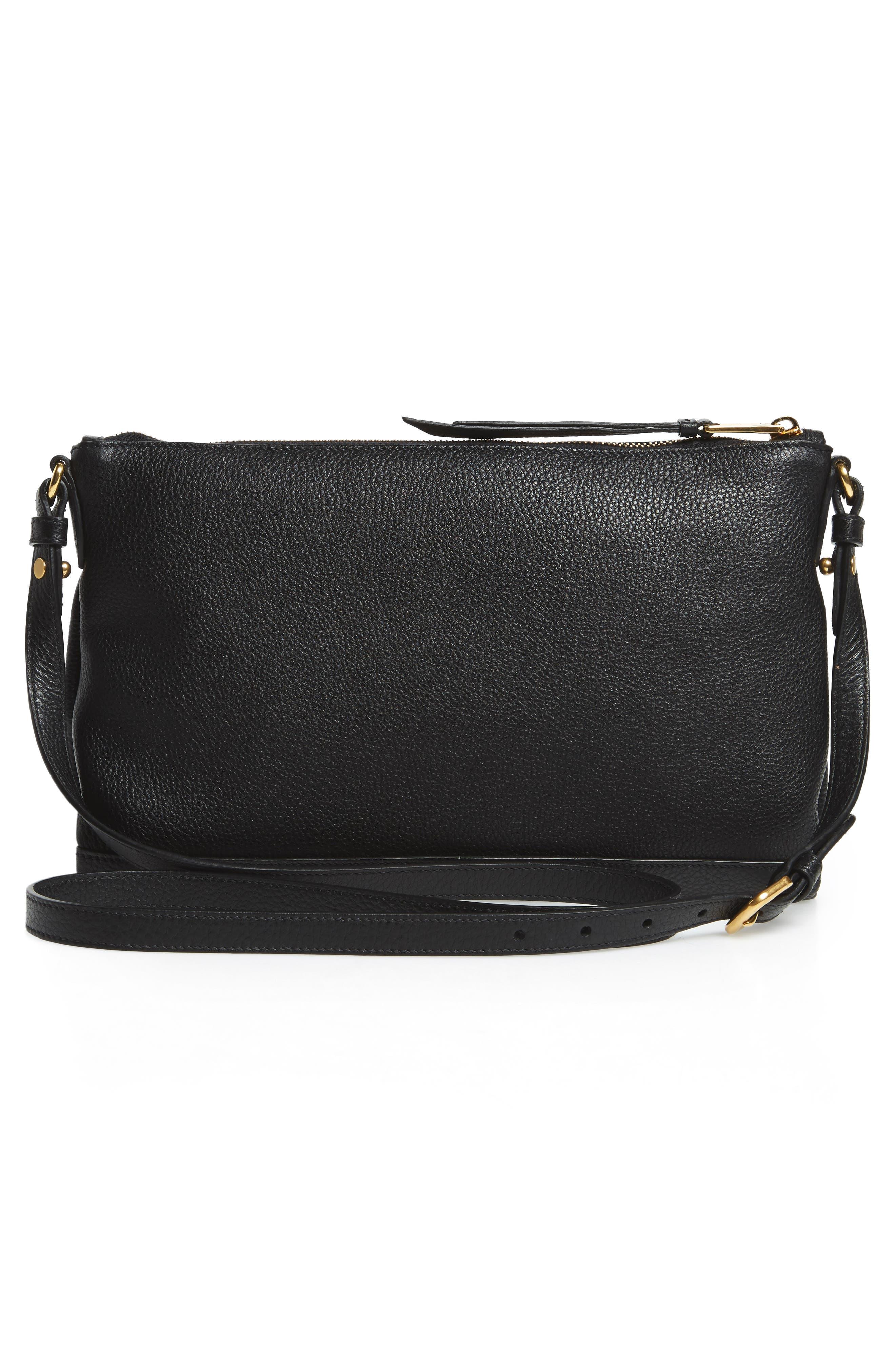 Vitello Daino Leather Crossbody Bag,                             Alternate thumbnail 4, color,                             001
