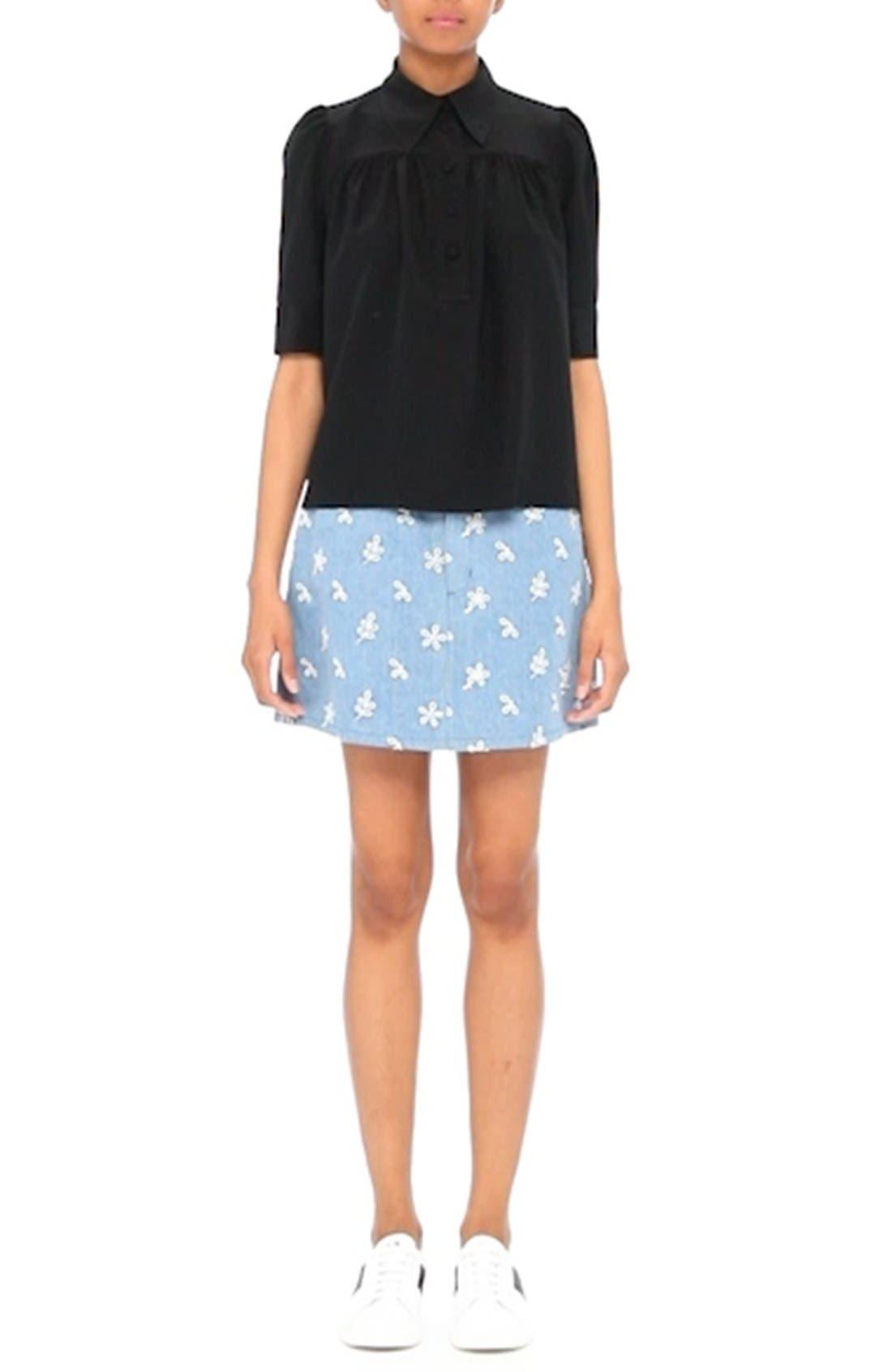 Broderie Anglaise Denim Miniskirt,                             Alternate thumbnail 8, color,                             400