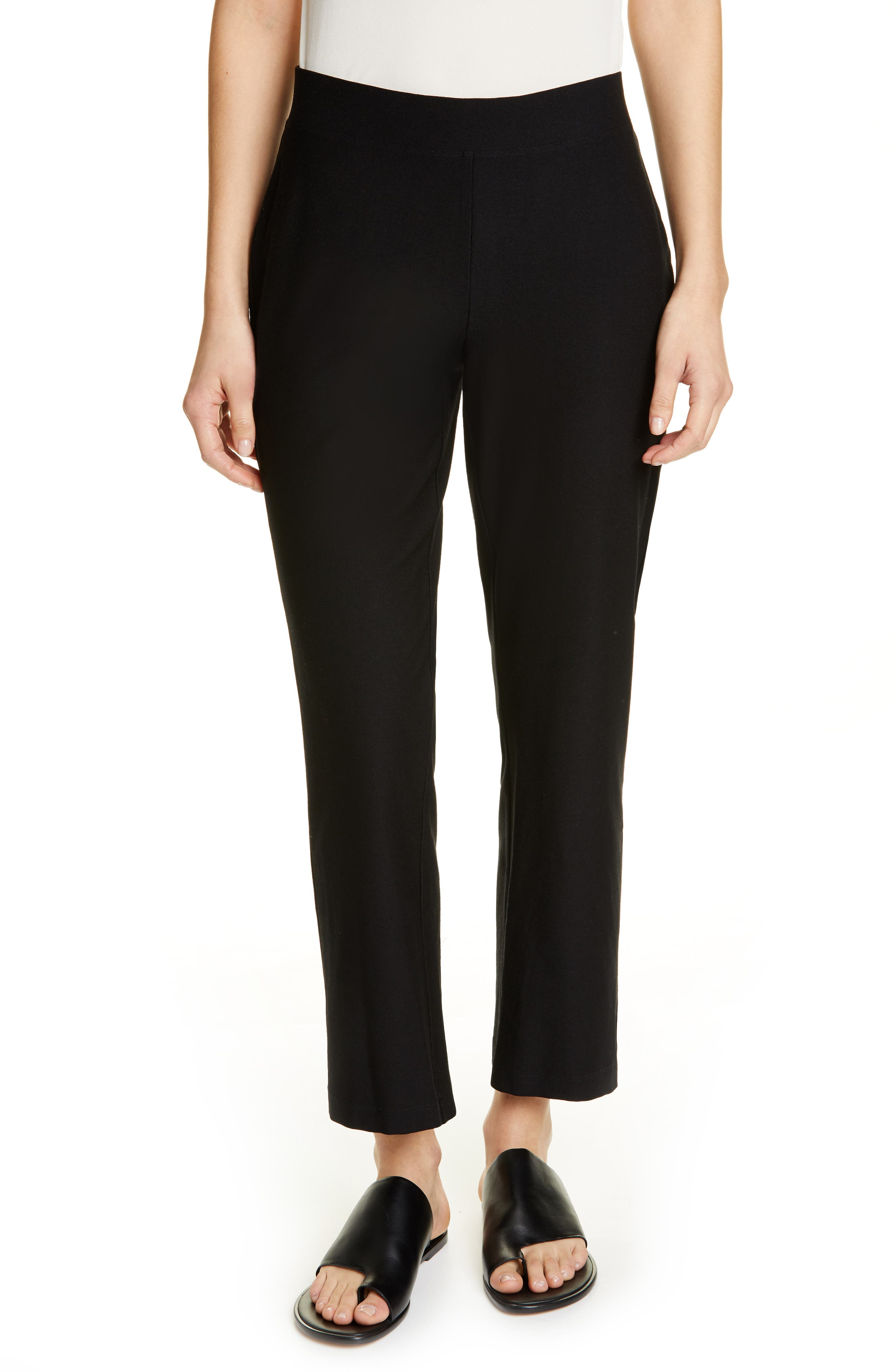 Petite Eileen Fisher Flare Ankle Pants, Black