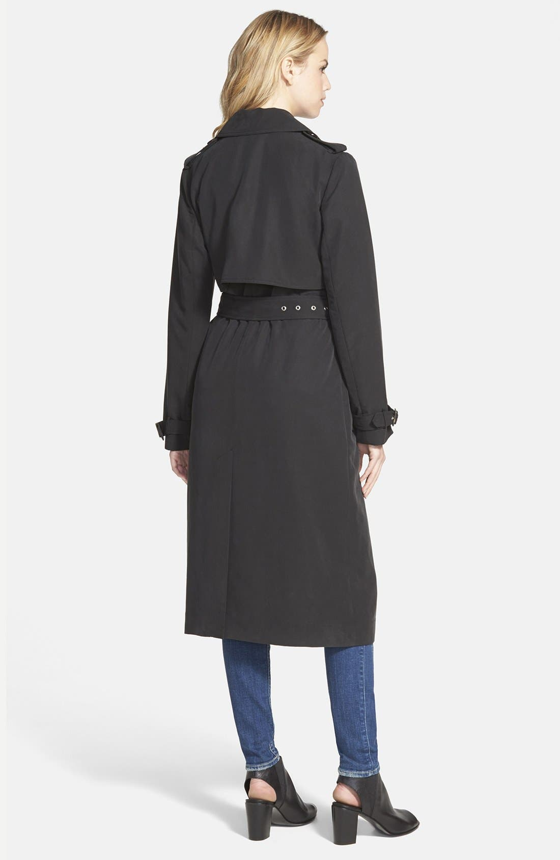Double Breasted Long Trench Coat,                             Alternate thumbnail 3, color,                             001