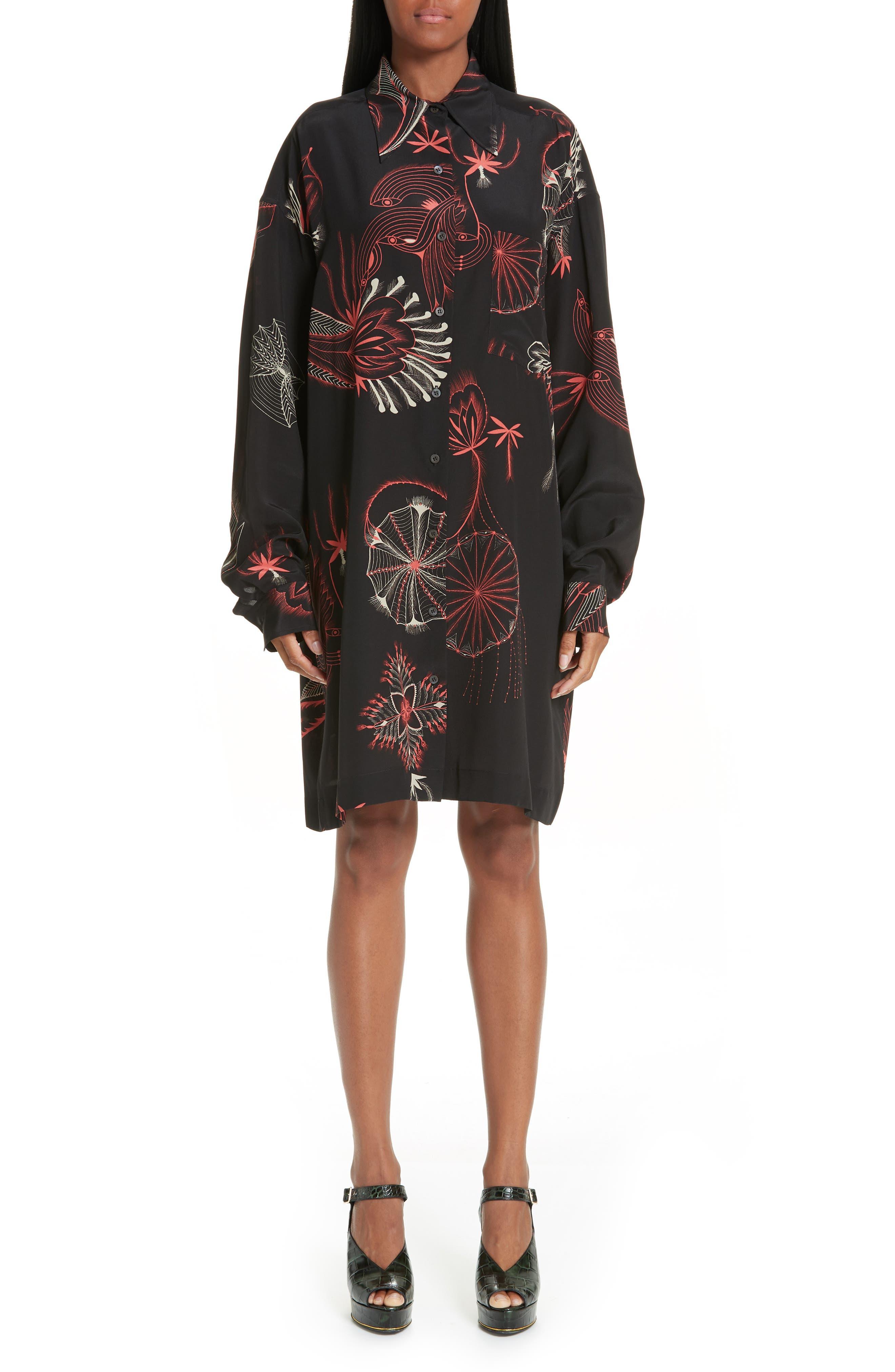 Coral Print Silk Shirtdress,                             Main thumbnail 1, color,                             BLACK