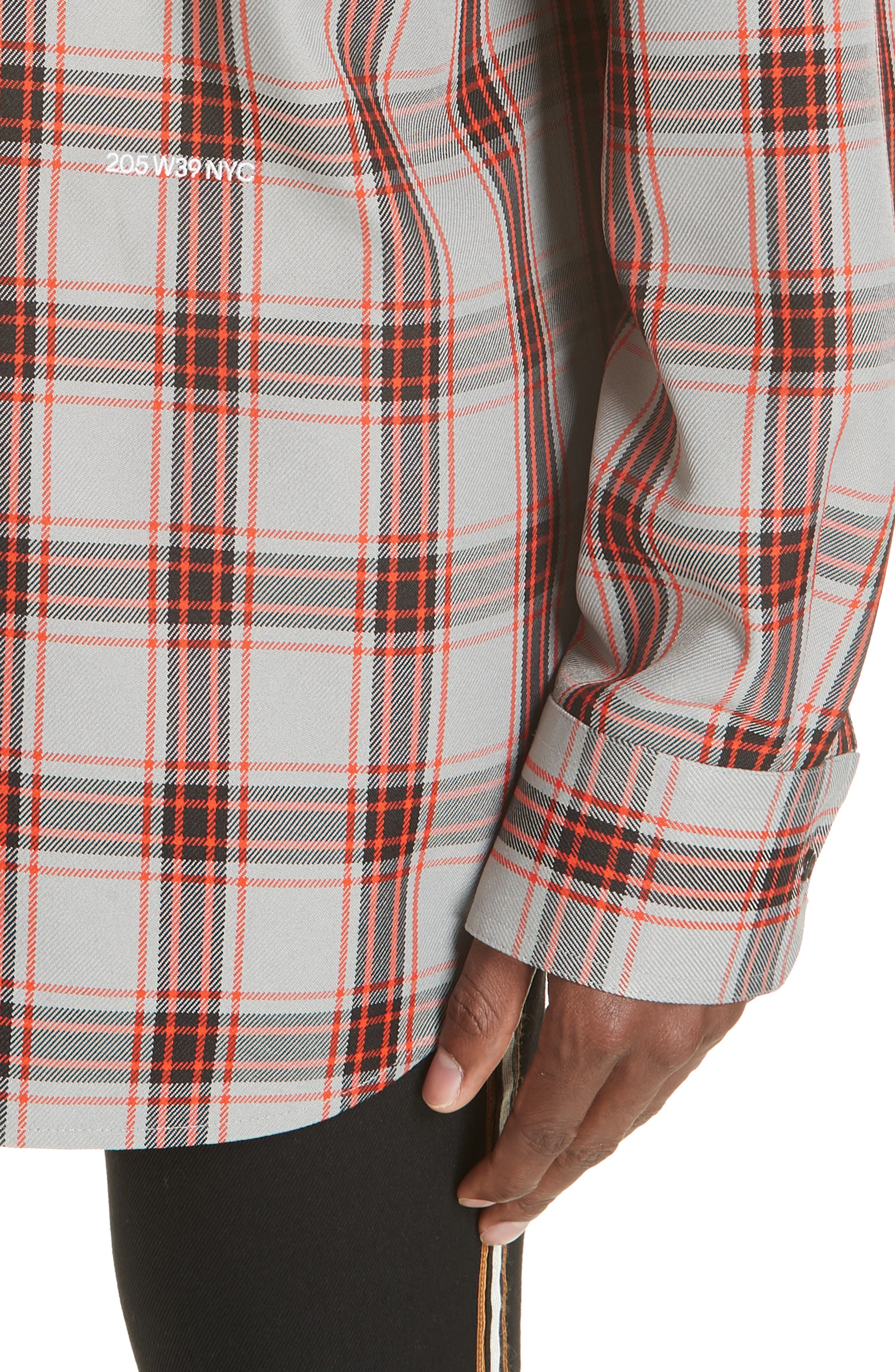 Oversize Plaid Twill Shirt,                             Alternate thumbnail 2, color,                             GREY/ RED