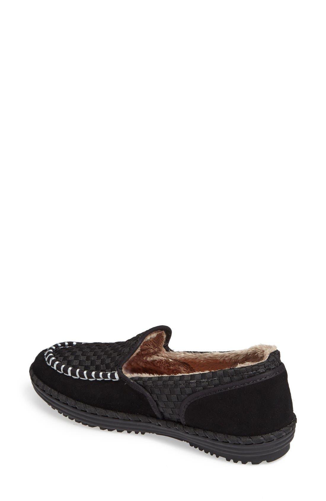 Faux Fur Lined Loafer Slipper,                             Alternate thumbnail 2, color,                             001