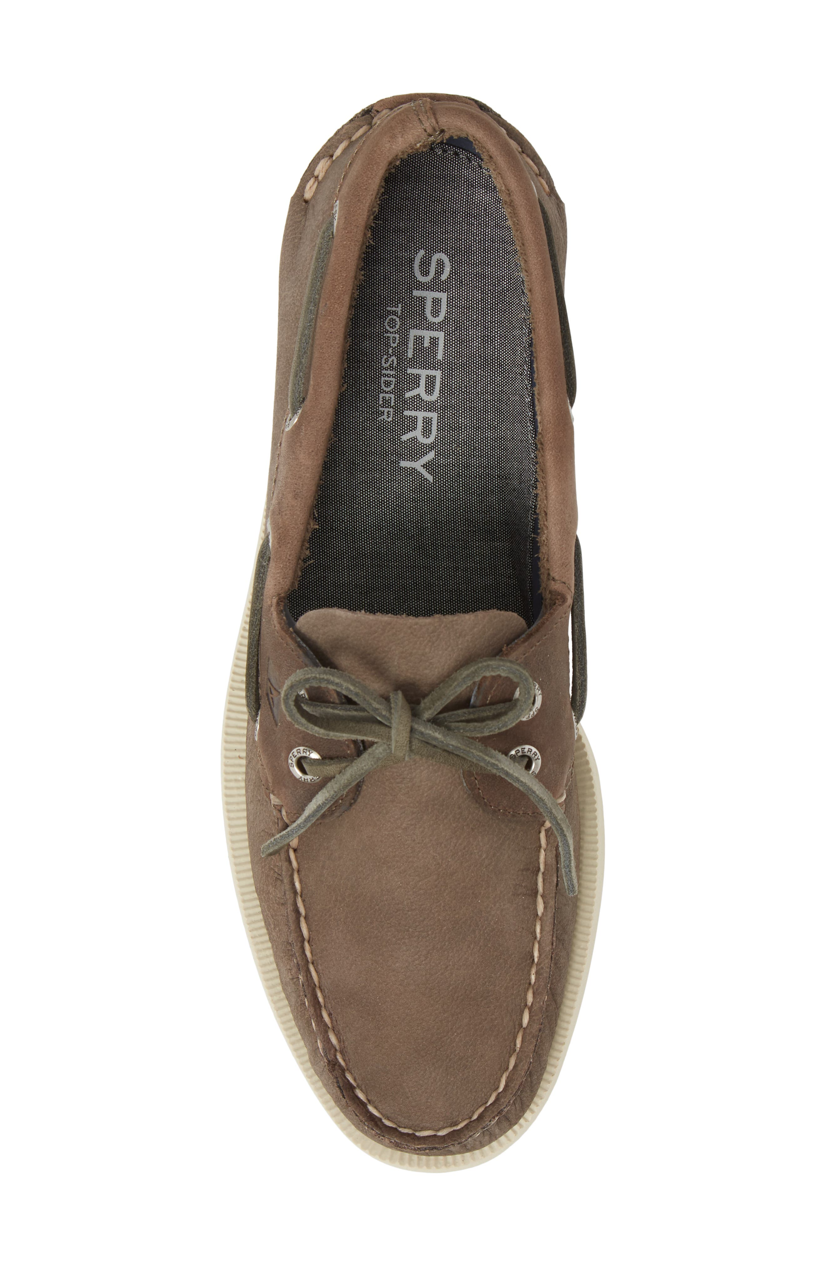 Authentic Original Two-Eye Boat Shoe,                             Alternate thumbnail 5, color,                             GREY/ CHARCOAL LEATHER