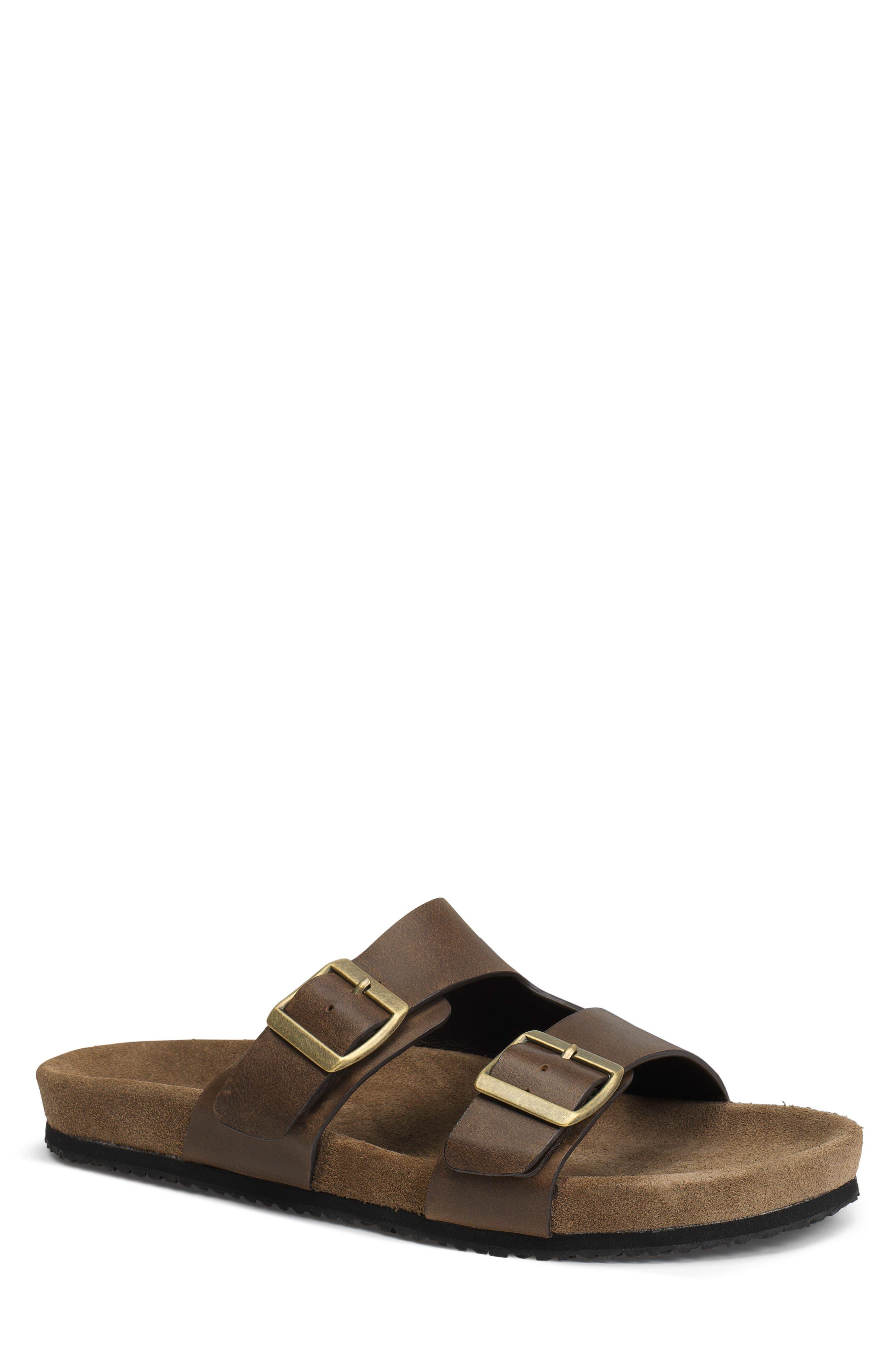 Findley Slide Sandal,                         Main,                         color, BROWN OILED