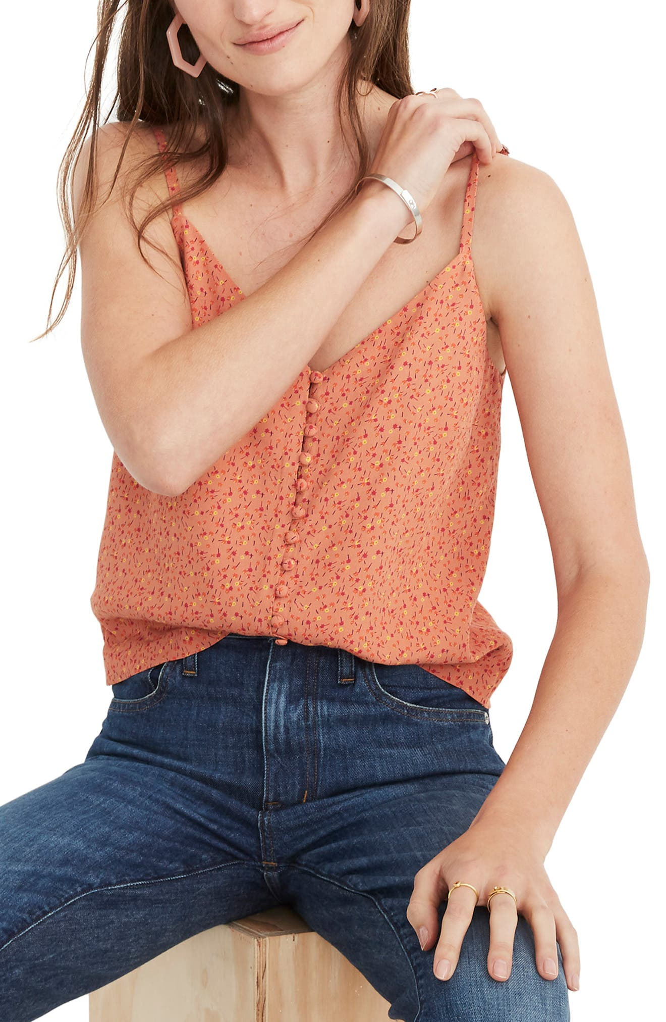 Madewell Button Camisole, Red