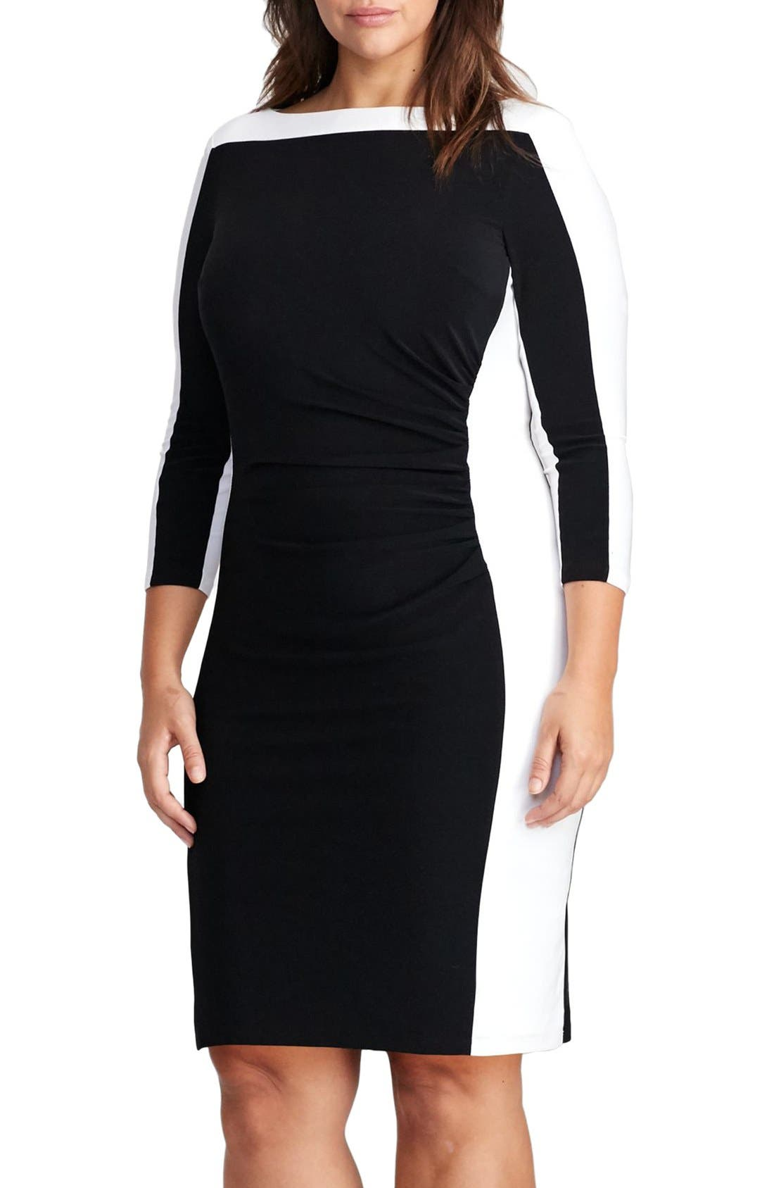 Jersey Sheath Dress,                             Main thumbnail 1, color,                             001