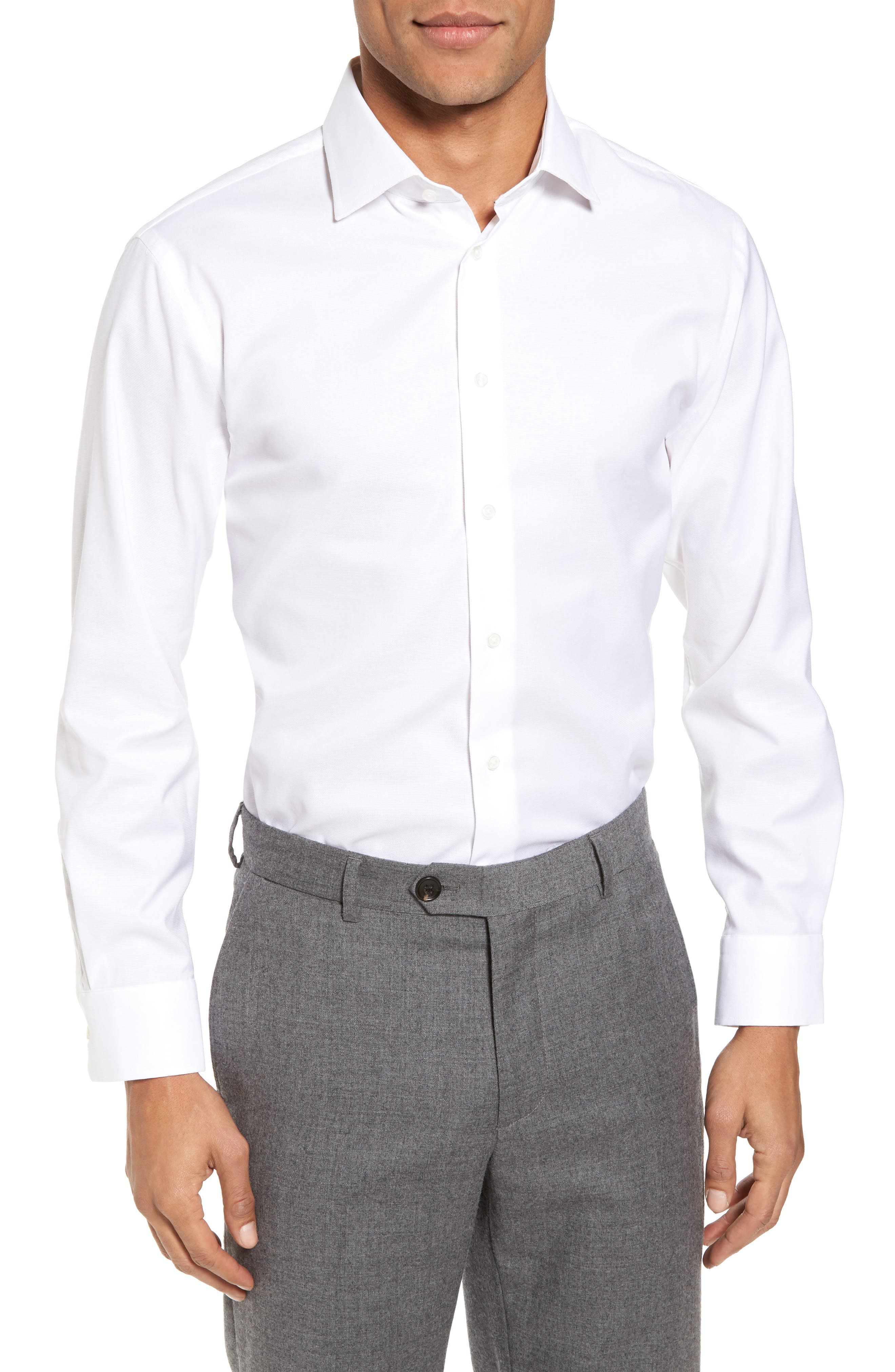 Trim Fit Non-Iron Stretch Solid Dress Shirt,                             Main thumbnail 1, color,                             WHITE