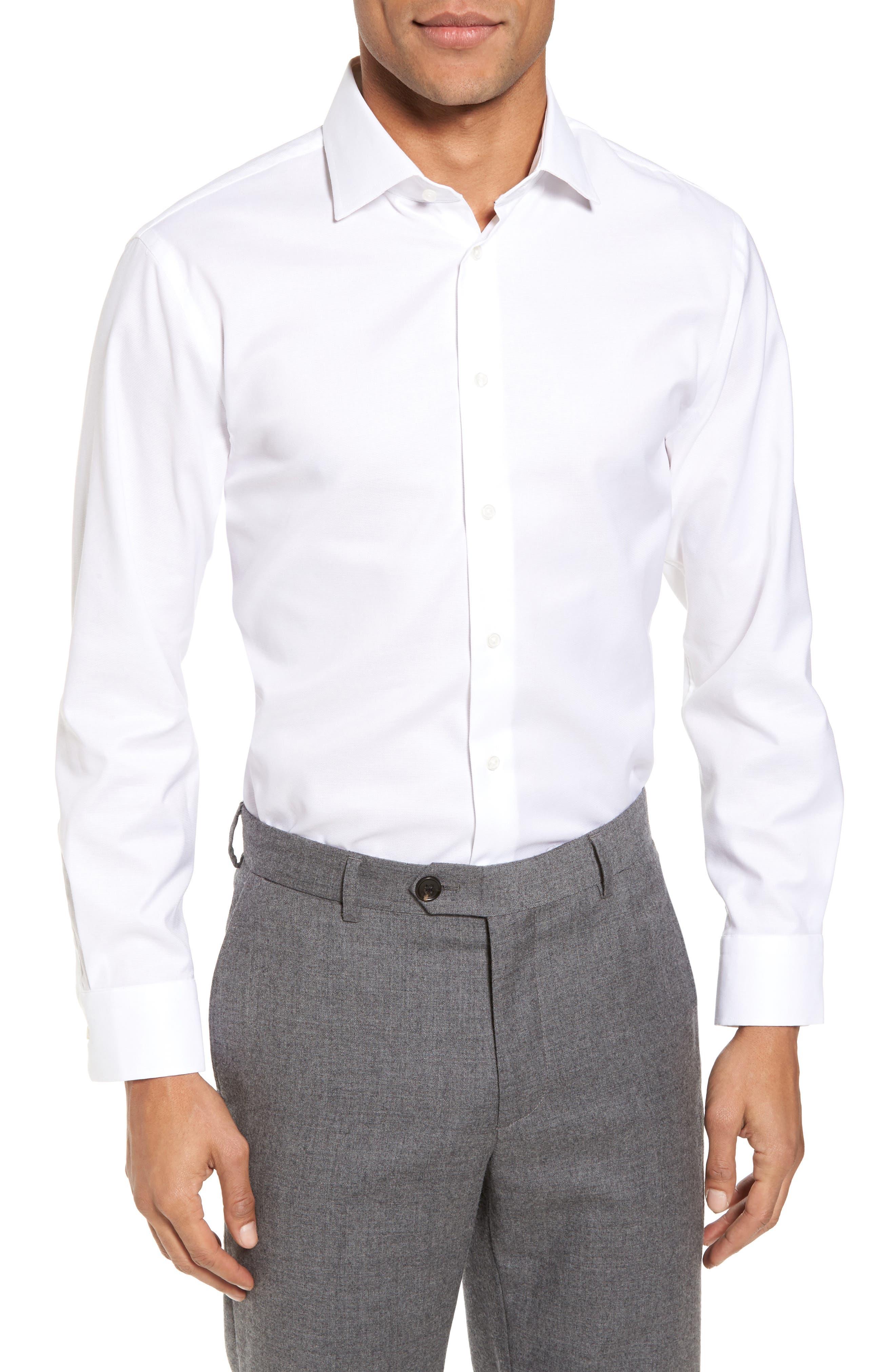 Trim Fit Non-Iron Stretch Solid Dress Shirt,                             Main thumbnail 1, color,                             WHITE