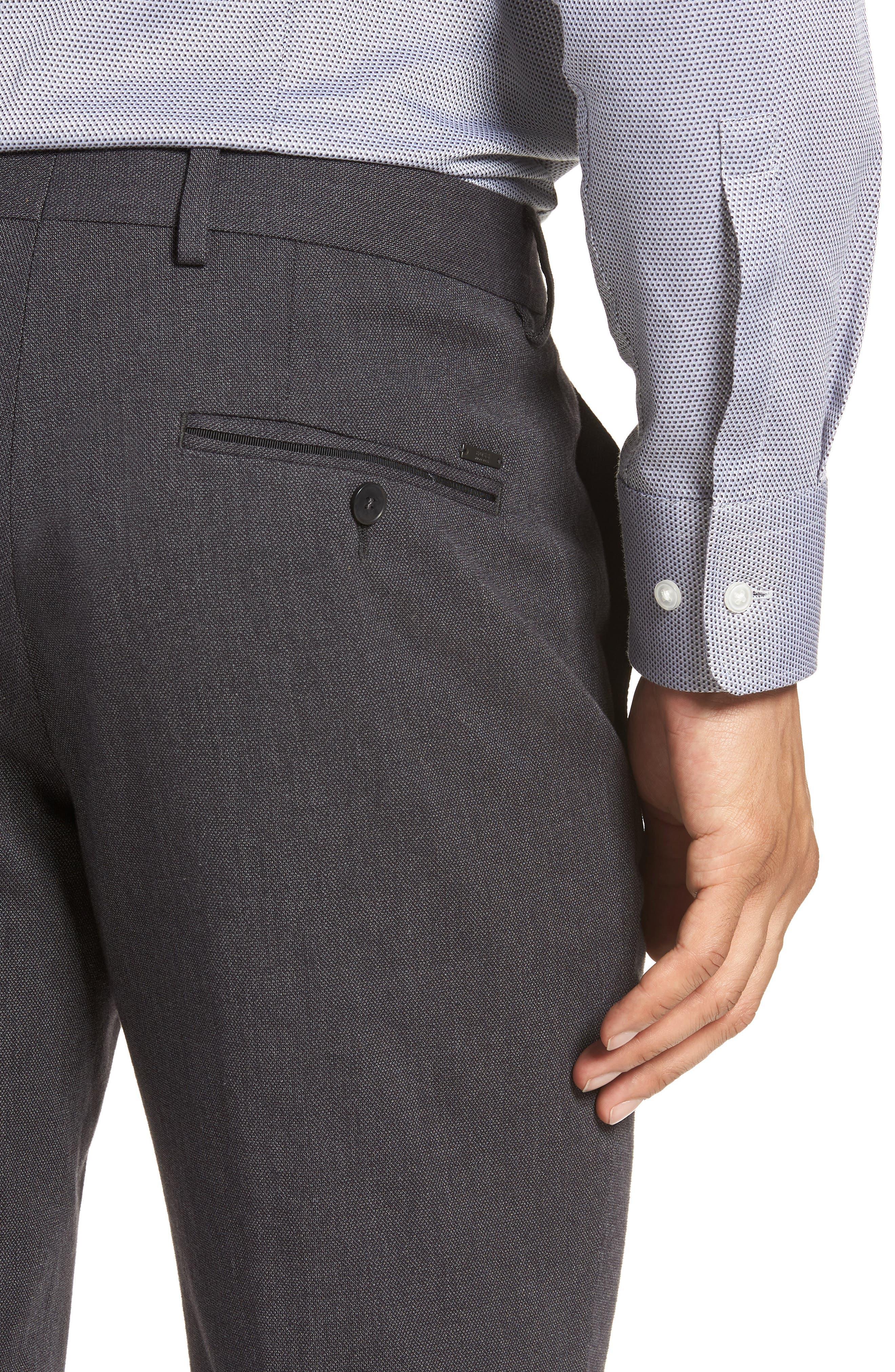 Batho Flat Front Solid Cotton Trousers,                             Alternate thumbnail 4, color,                             MEDIUM GREY