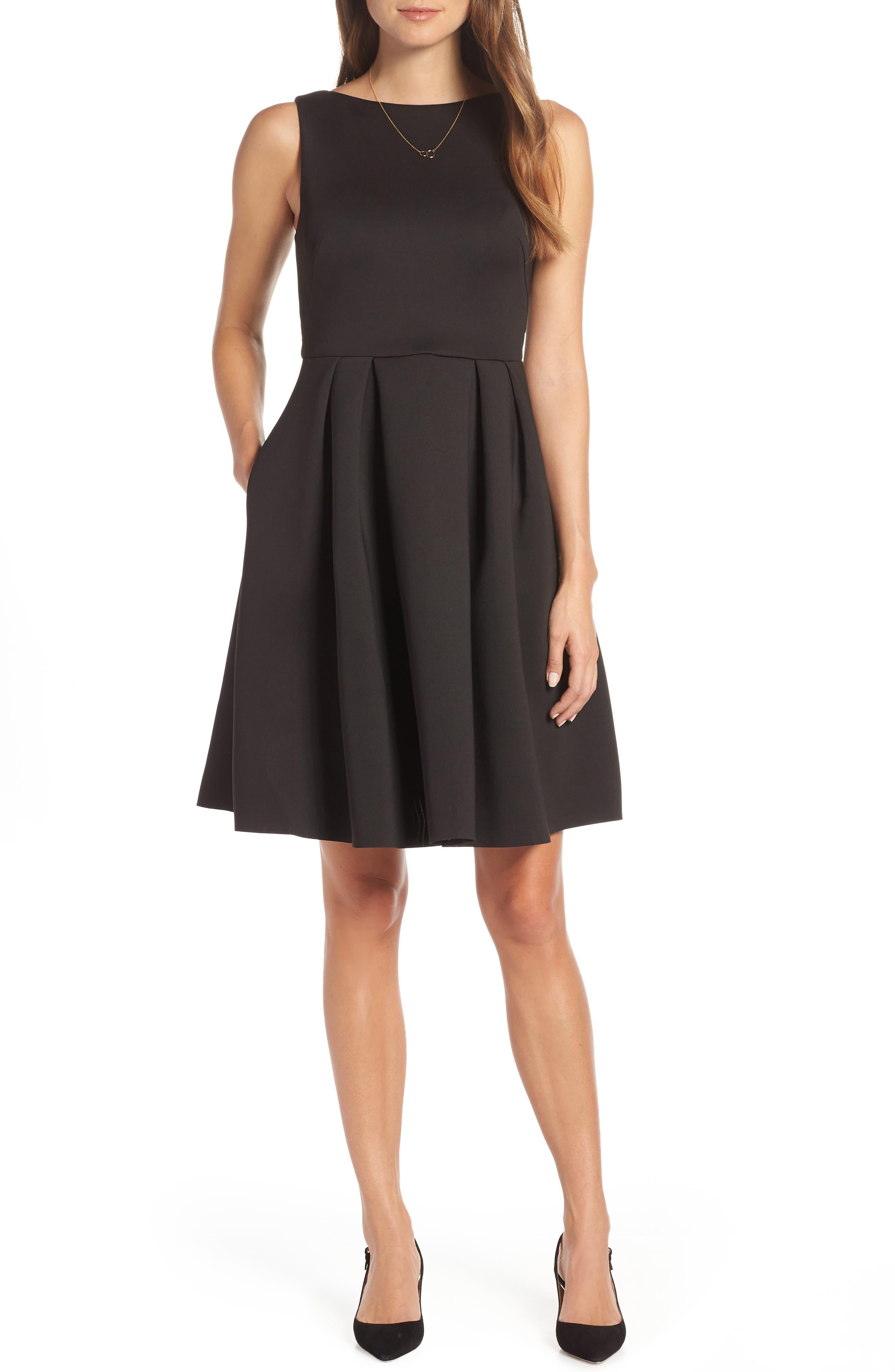 Fit & Flare Scuba Dress,                             Main thumbnail 1, color,                             001