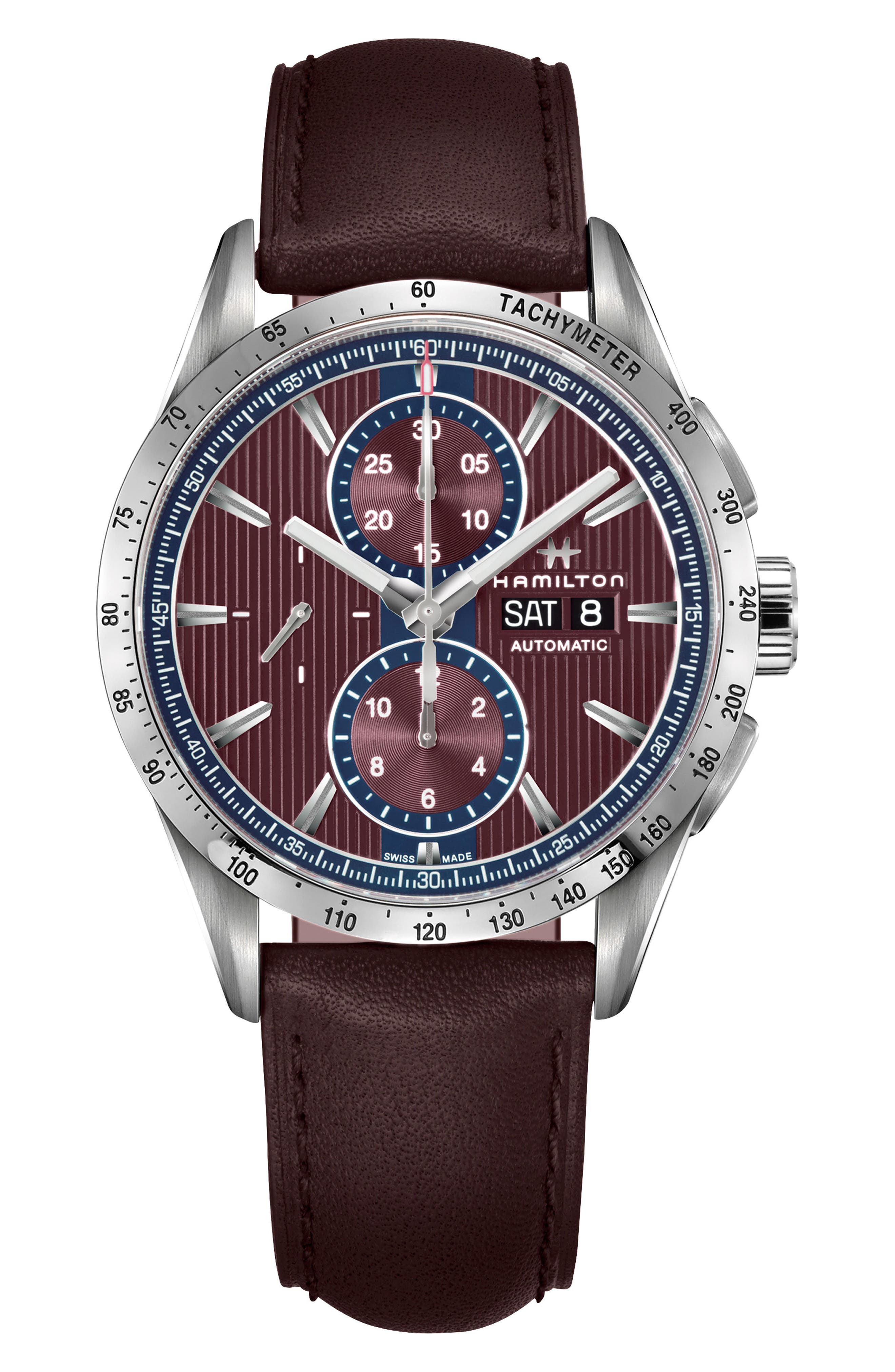 Broadway Automatic Chronograph Leather Strap Watch, 43mm,                             Main thumbnail 1, color,                             AUBERGINE/ RED/ SILVER