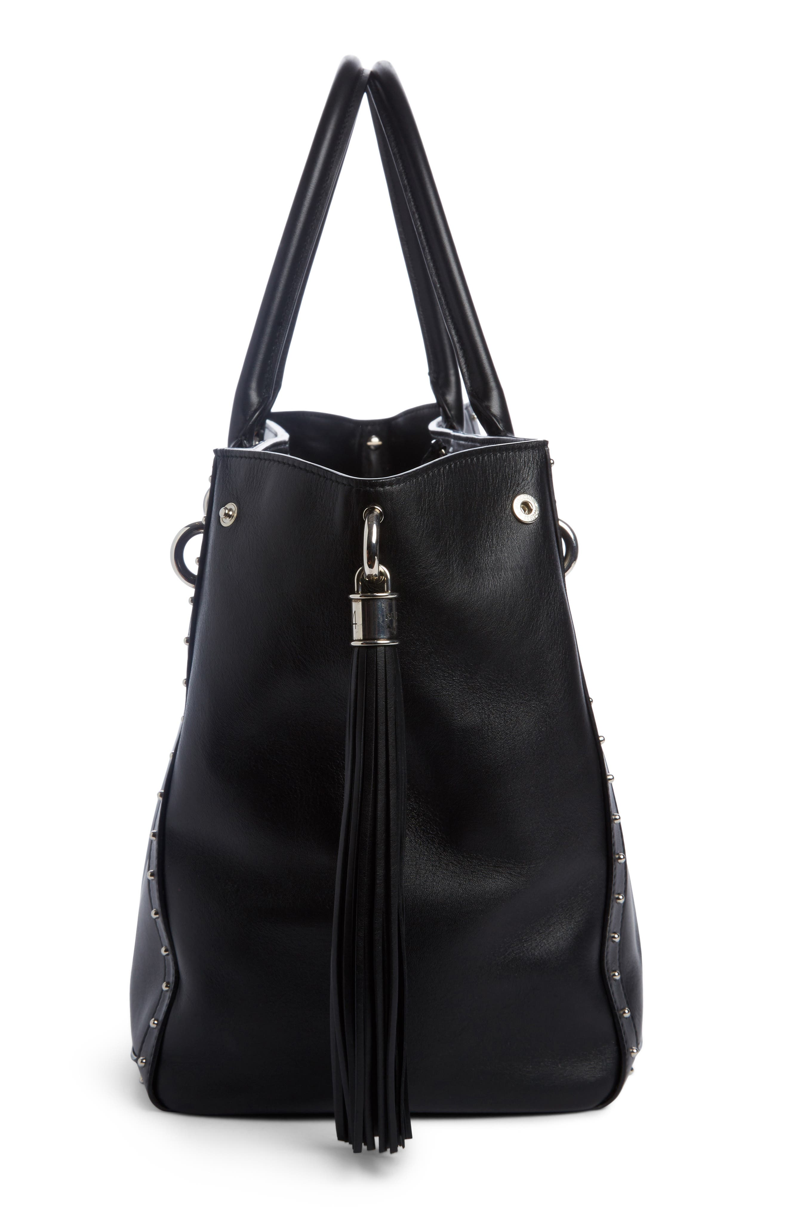 Renaissance Leather Tote,                             Alternate thumbnail 3, color,                             NOIR