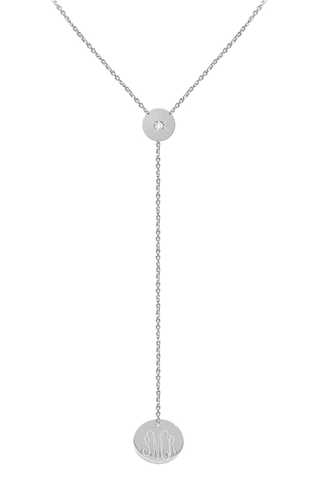 Diamond & Personalized Monogram Y-Necklace,                             Main thumbnail 2, color,