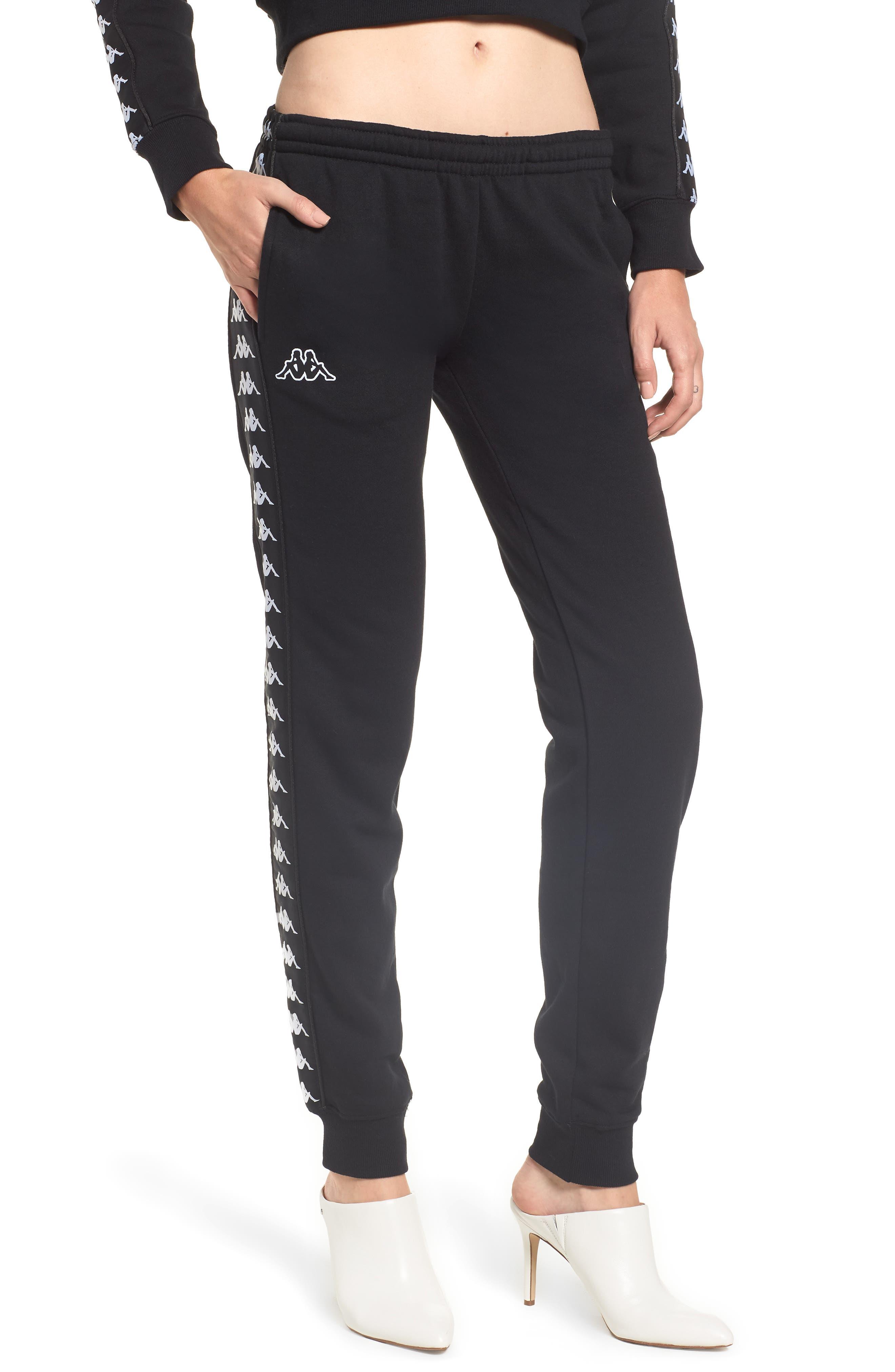 Logo Slim Fleece Pants,                         Main,                         color, BLACK-WHITE