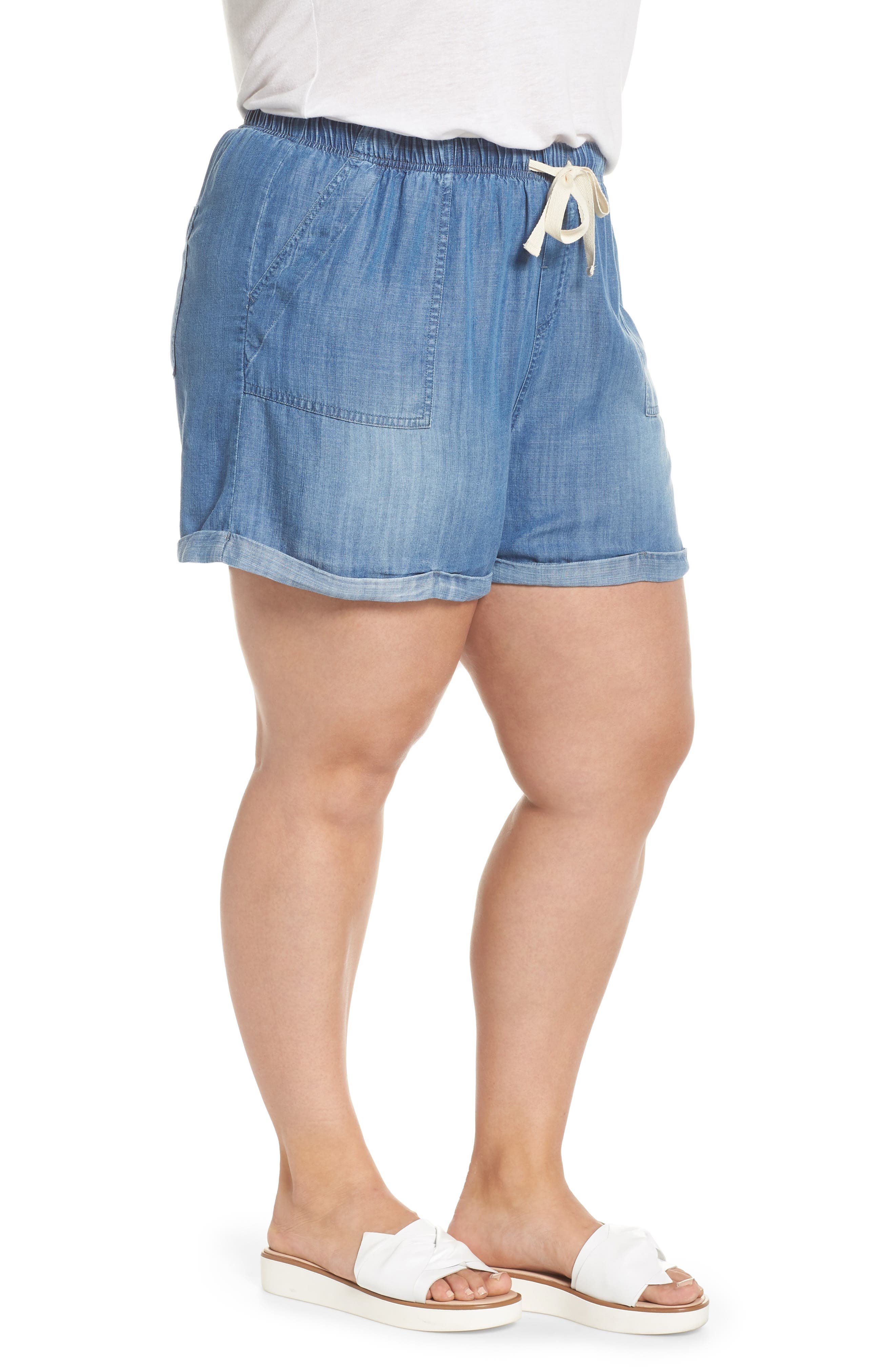 Drawstring Chambray Shorts,                             Alternate thumbnail 3, color,                             MEDIUM WASH