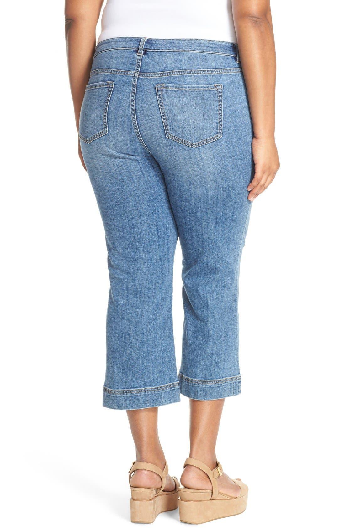Wide Leg Crop Jeans,                             Alternate thumbnail 6, color,