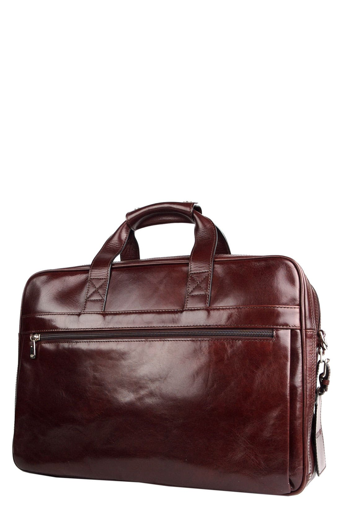Double Compartment Leather Briefcase,                         Main,                         color, DARK BROWN
