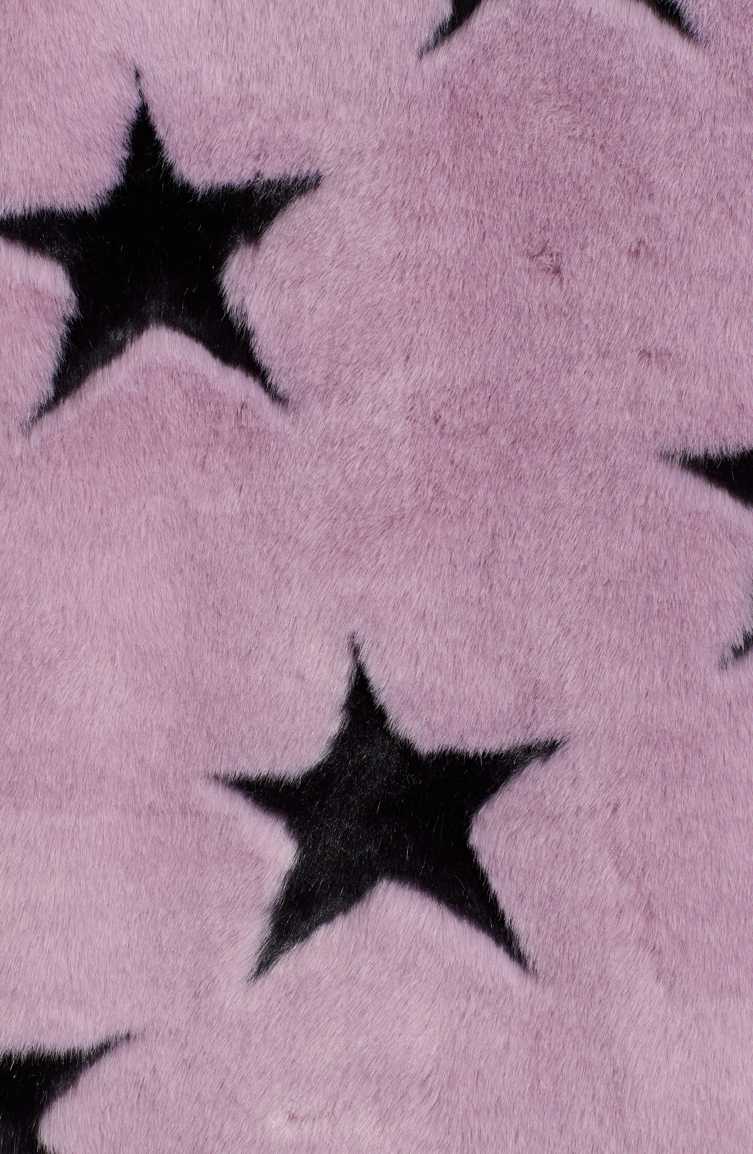 Faux Fur Swing Coat,                             Alternate thumbnail 7, color,                             LAVENDER/ GREYDNU