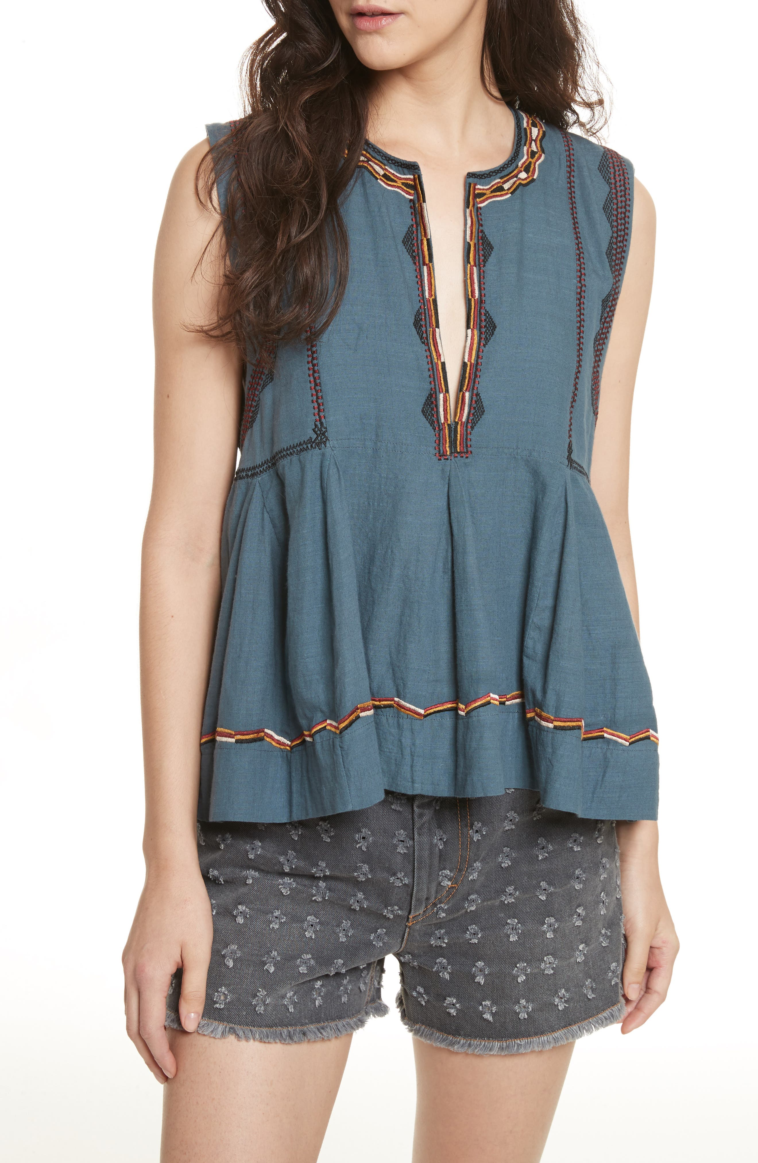 Isabel Marant Étoile Barney Embroidered Top,                         Main,                         color,