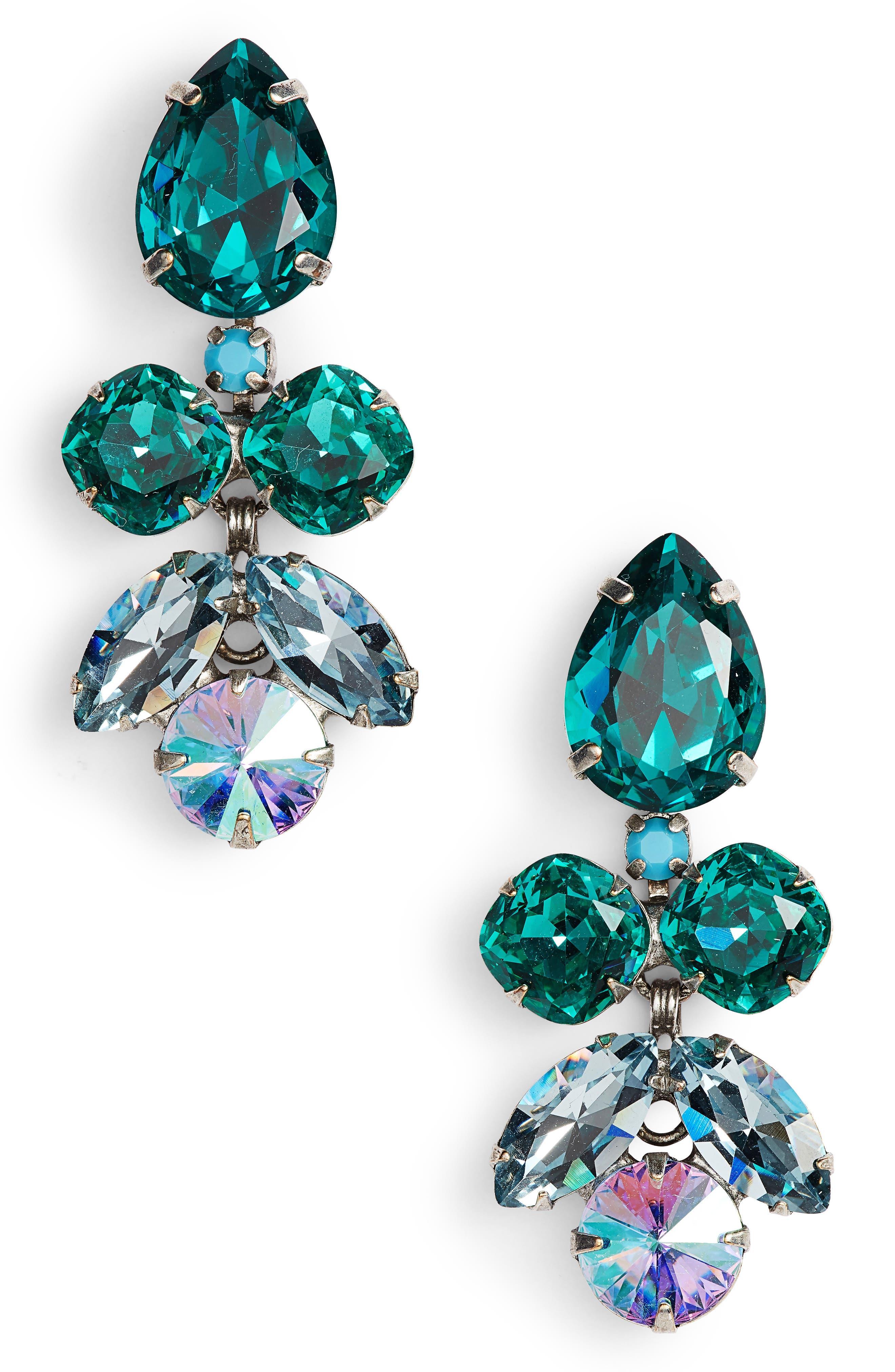 Lotus Flower Crystal Drop Earrings,                         Main,                         color, BLUE-GREEN