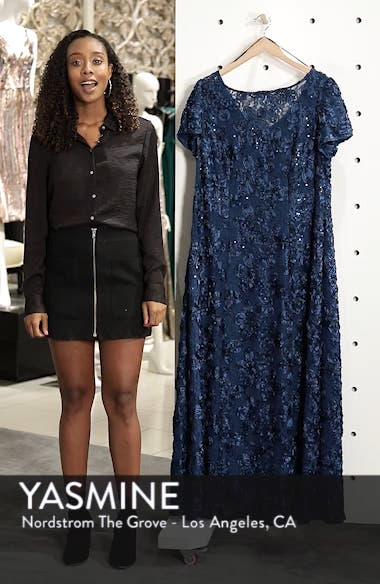 Rosette Lace Short Sleeve A-Line Gown, sales video thumbnail