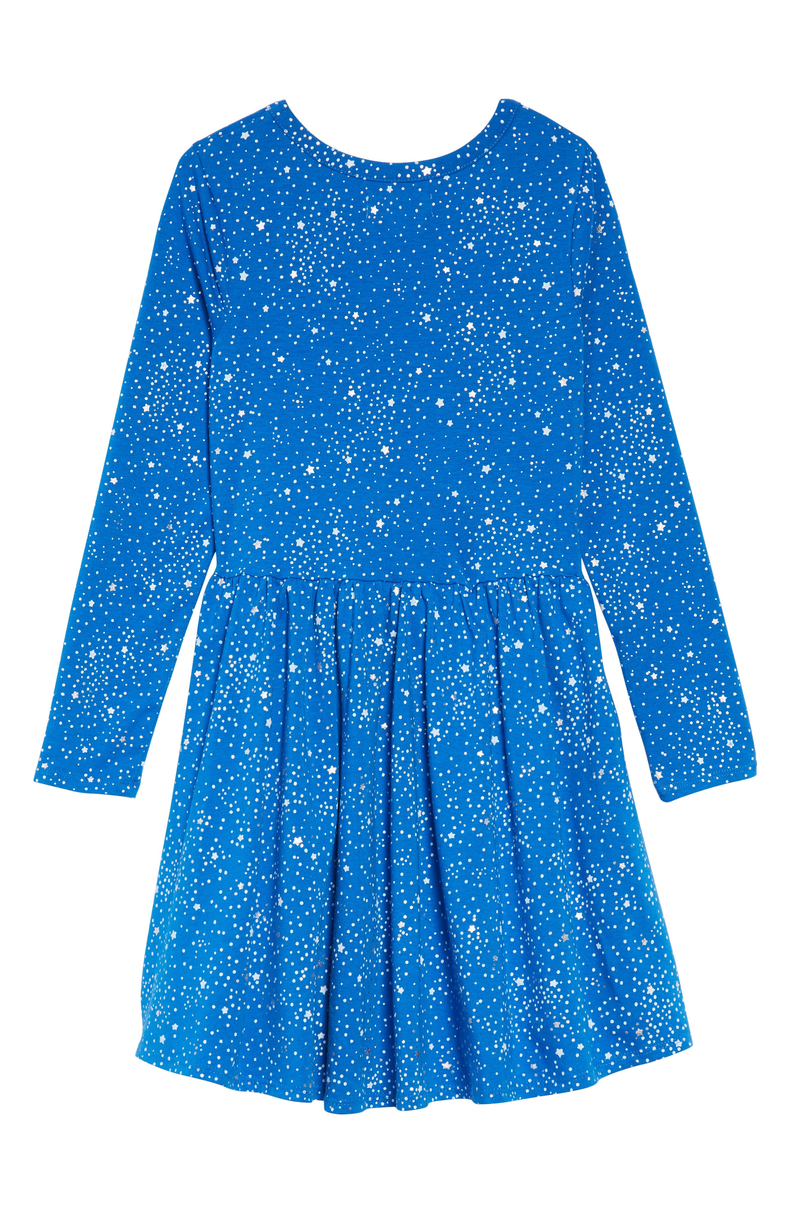 Print Knit Dress,                             Alternate thumbnail 2, color,                             BLUE PRINCESS SPOTS AND STARS