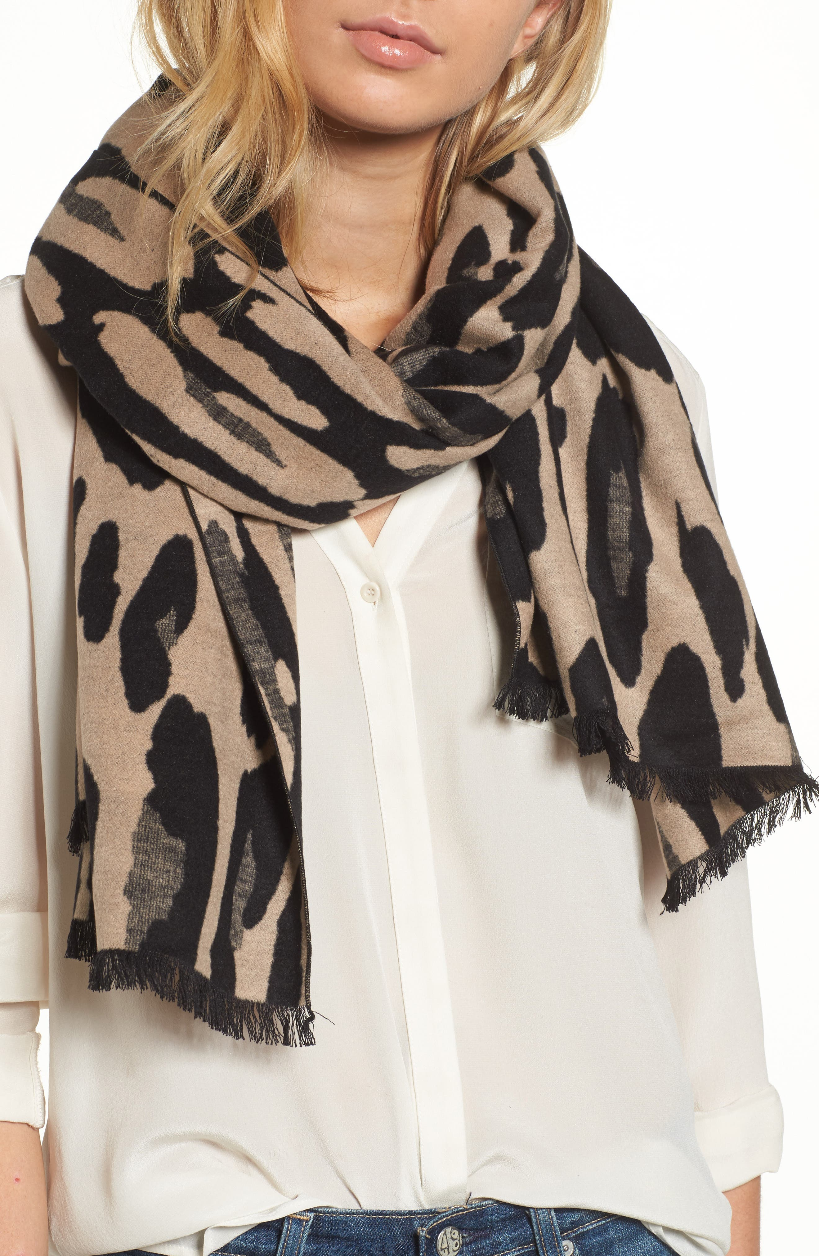 Leopard Print Brushed Silk Scarf,                             Main thumbnail 1, color,                             001