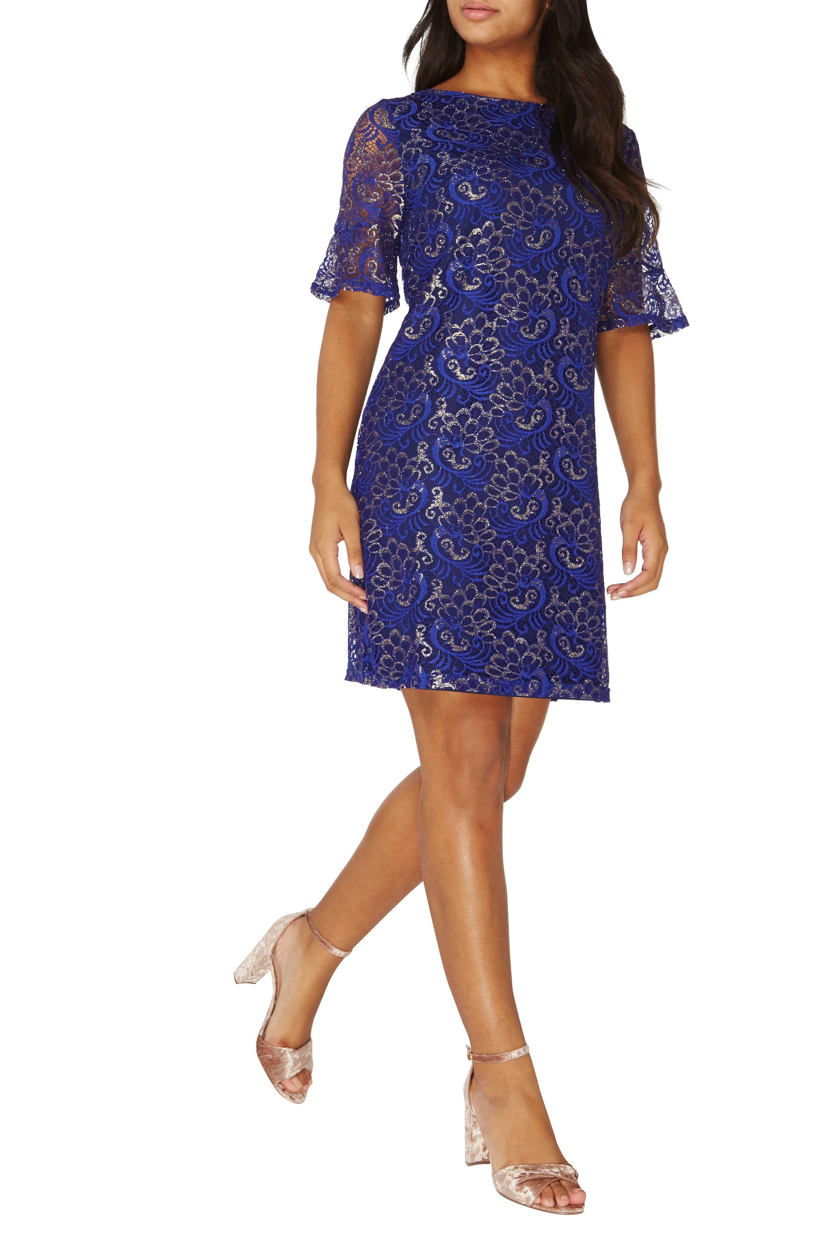 Shimmer Lace Shift Dress,                             Alternate thumbnail 5, color,                             400
