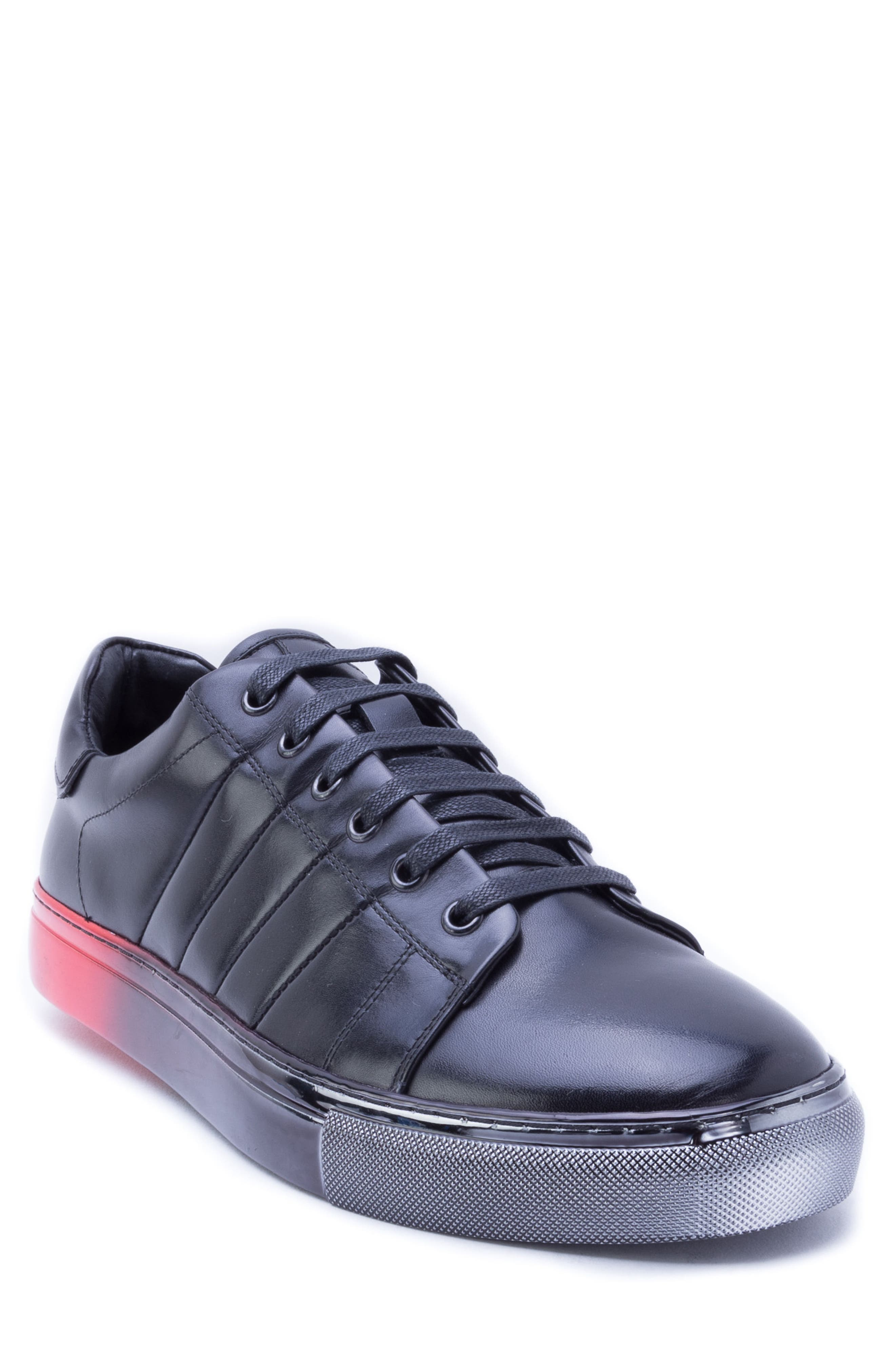 Duvall Sneaker,                         Main,                         color, BLACK LEATHER