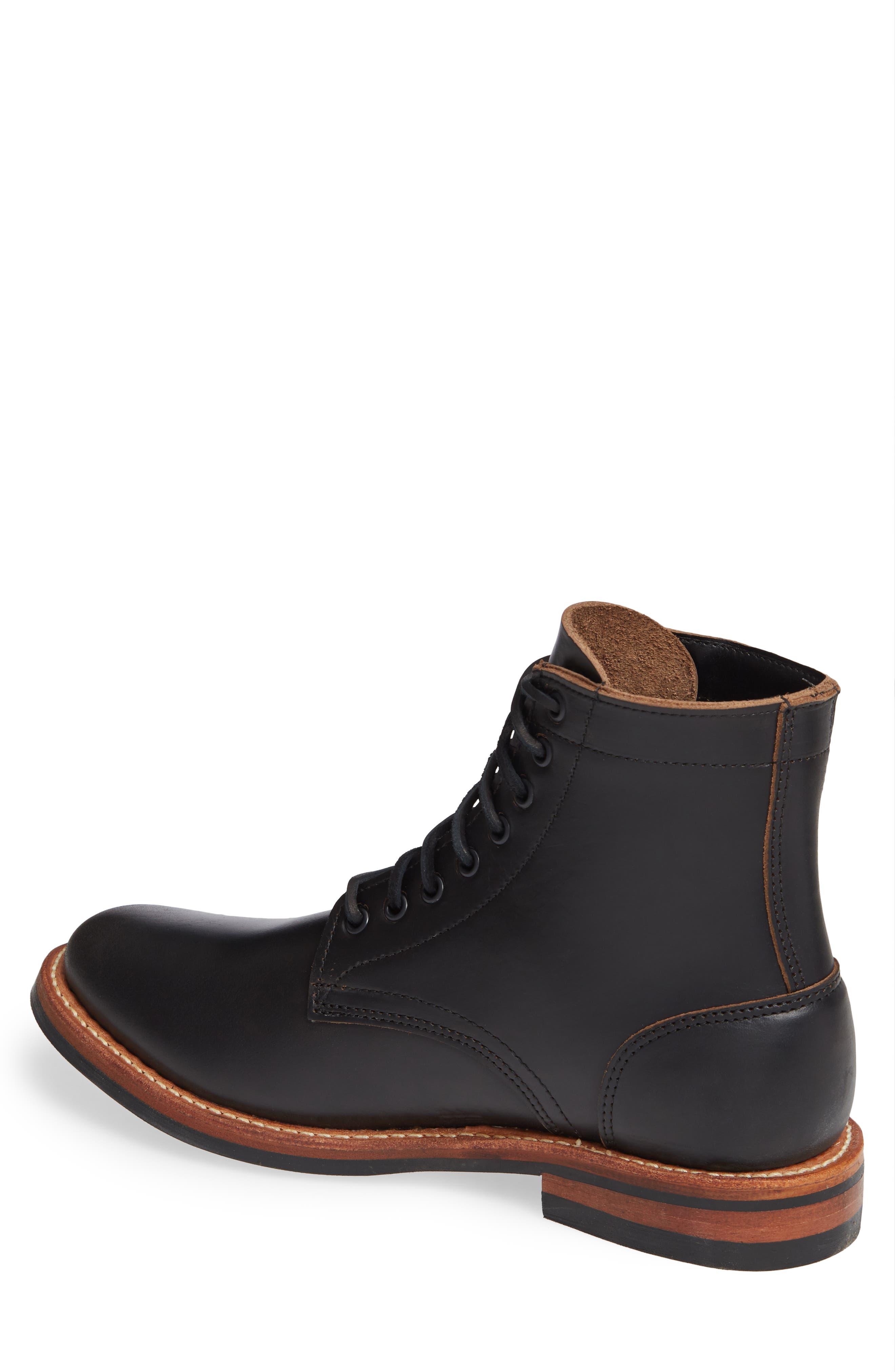 Trench Plain Toe boot,                             Alternate thumbnail 2, color,                             BLACK LEATHER