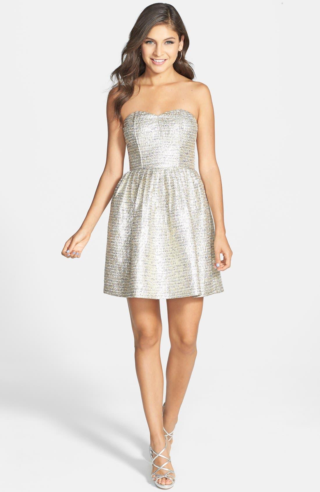 A. DREA,                             Metallic Strapless Skater Dress,                             Alternate thumbnail 4, color,                             710