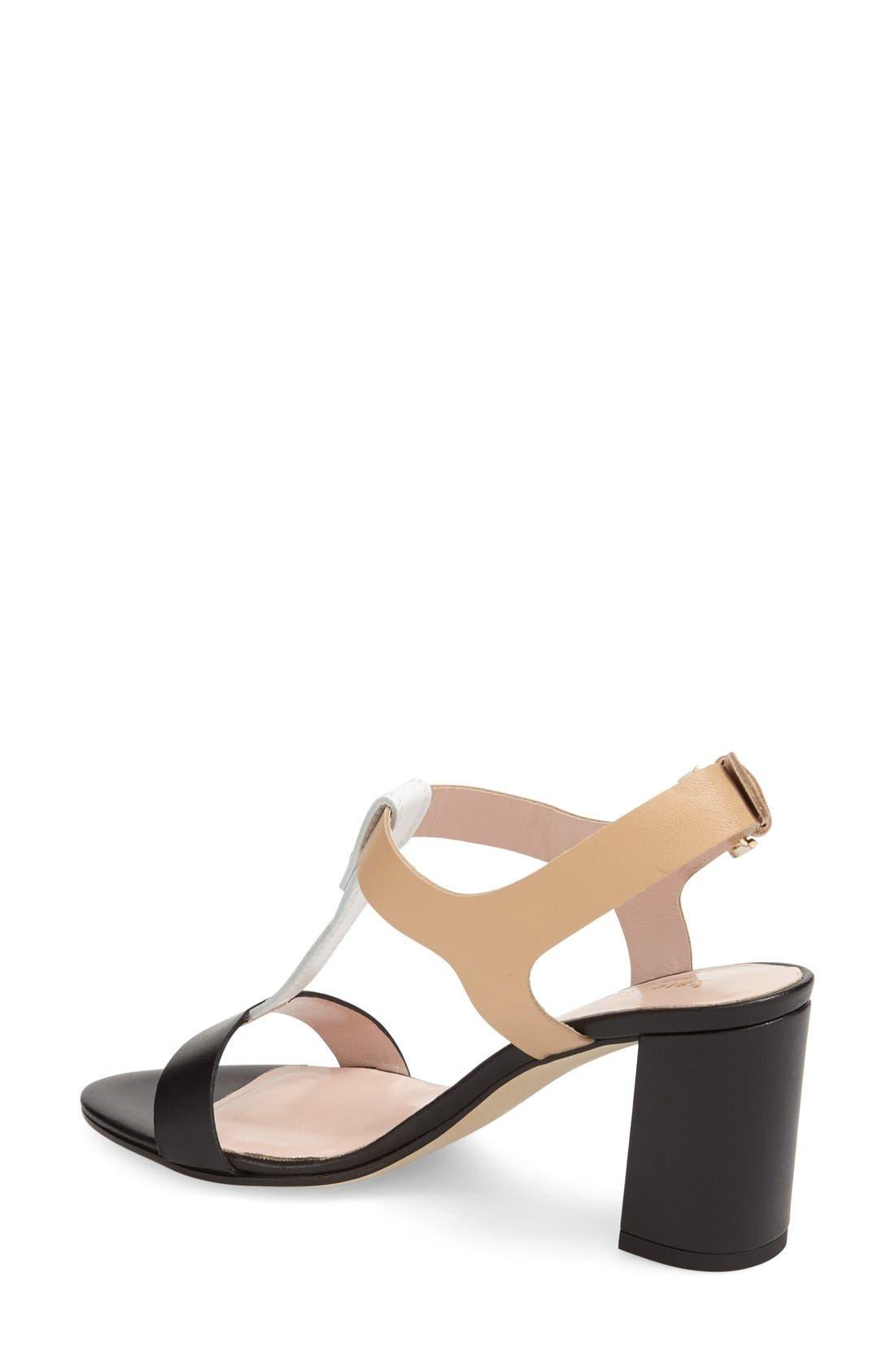 'addie' block heel t-strap sandal,                             Alternate thumbnail 4, color,                             003