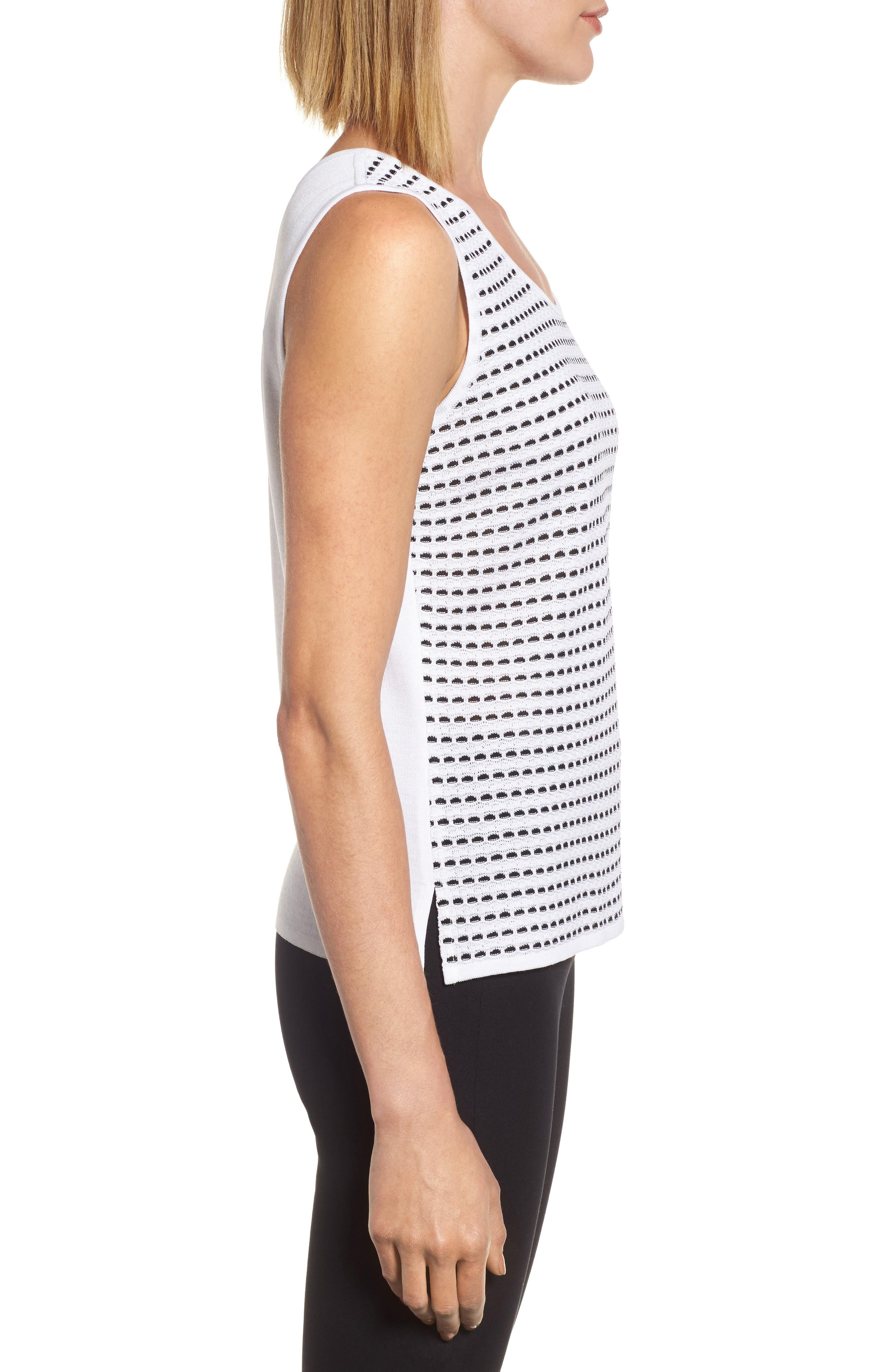 Scoop Neck Jacquard Knit Tank,                             Alternate thumbnail 3, color,                             WHITE/ BLACK