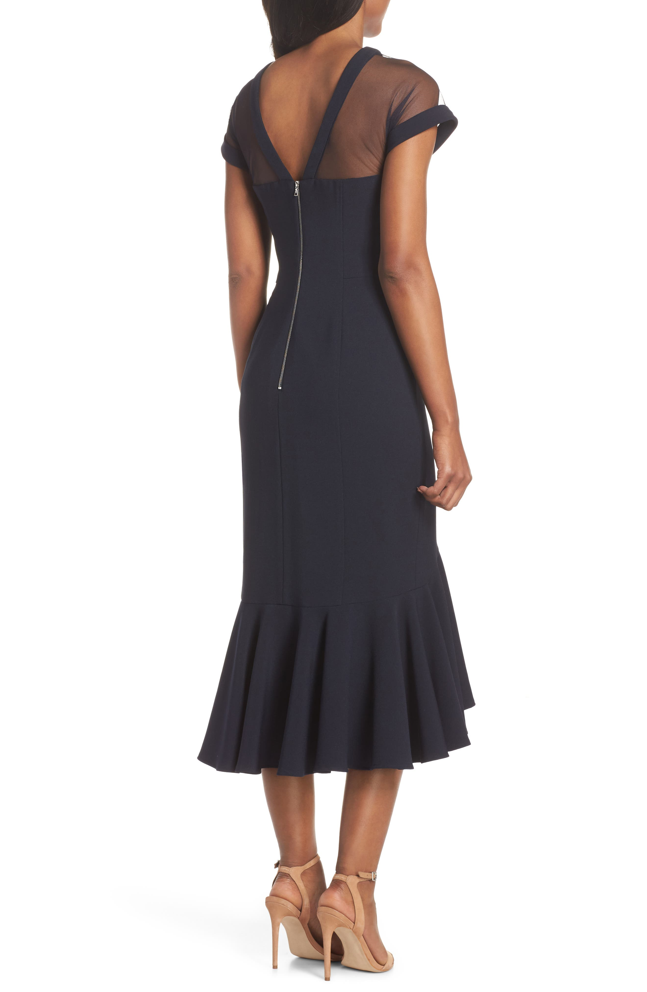 Illusion Neck Crepe Trumpet Dress,                             Alternate thumbnail 2, color,                             DARK NAVY