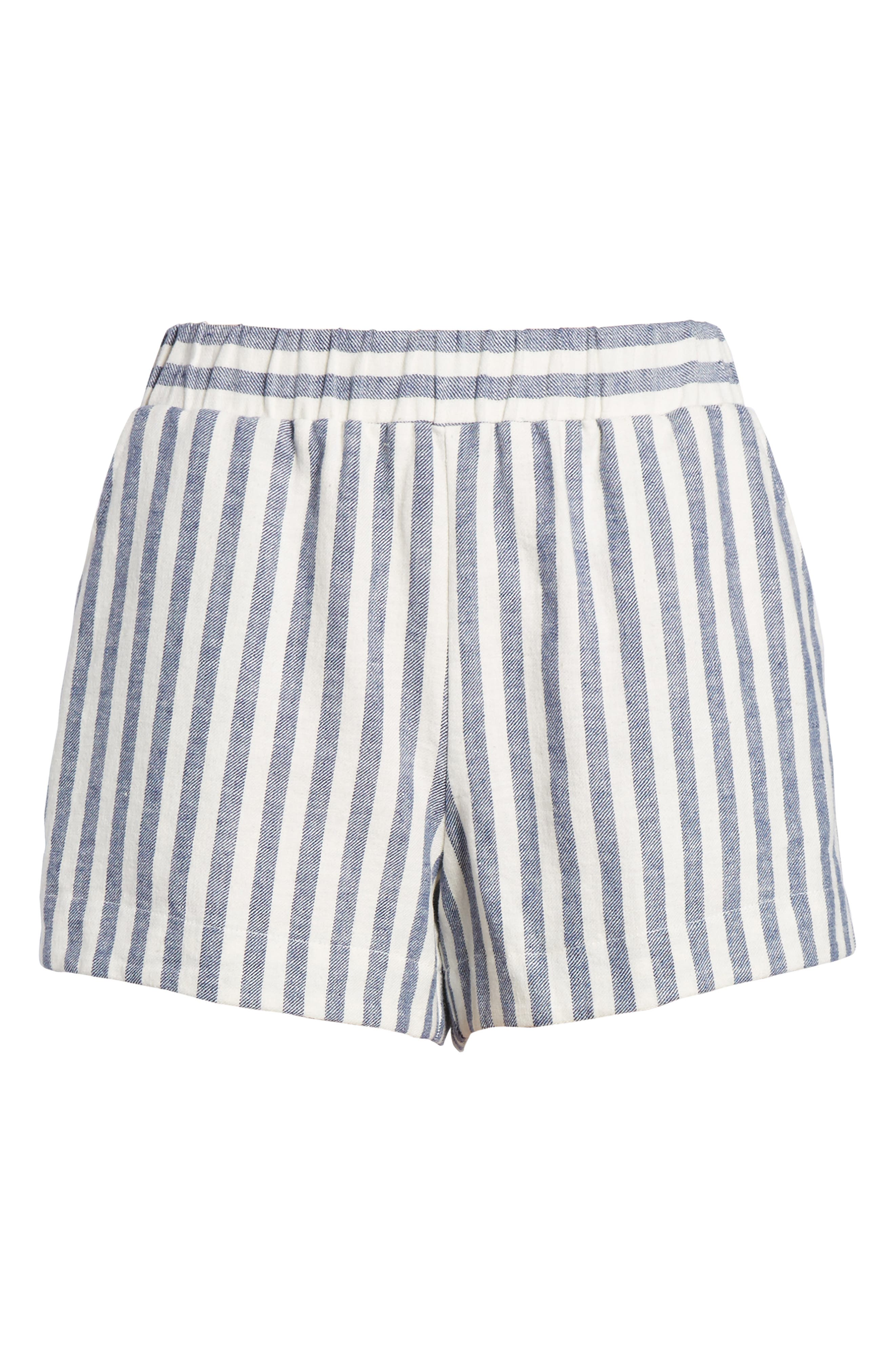 Stripe Linen Blend Shorts,                             Alternate thumbnail 6, color,                             903