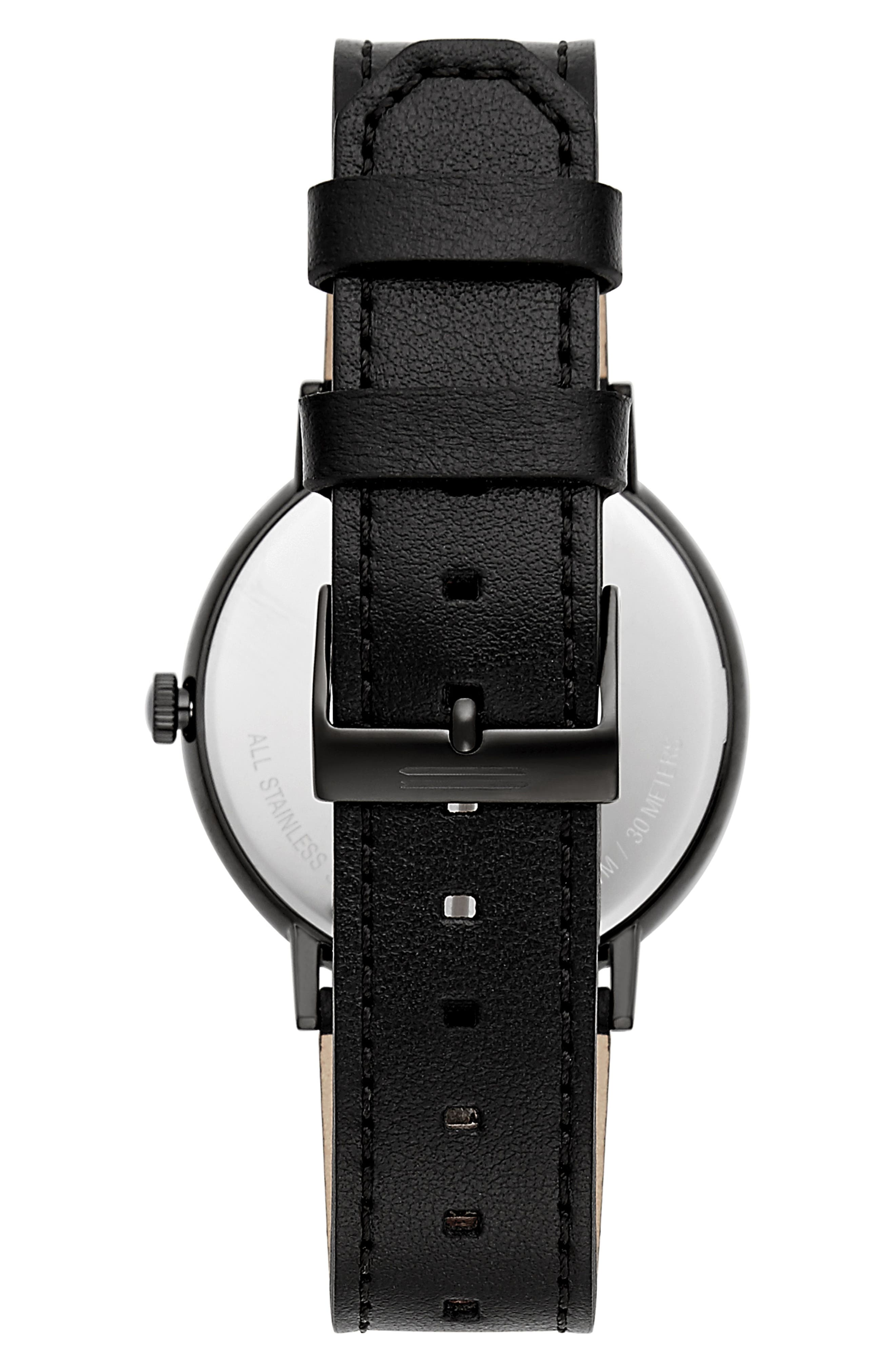 Norrebro Leather Watch, 40mm,                             Alternate thumbnail 2, color,                             BLACK