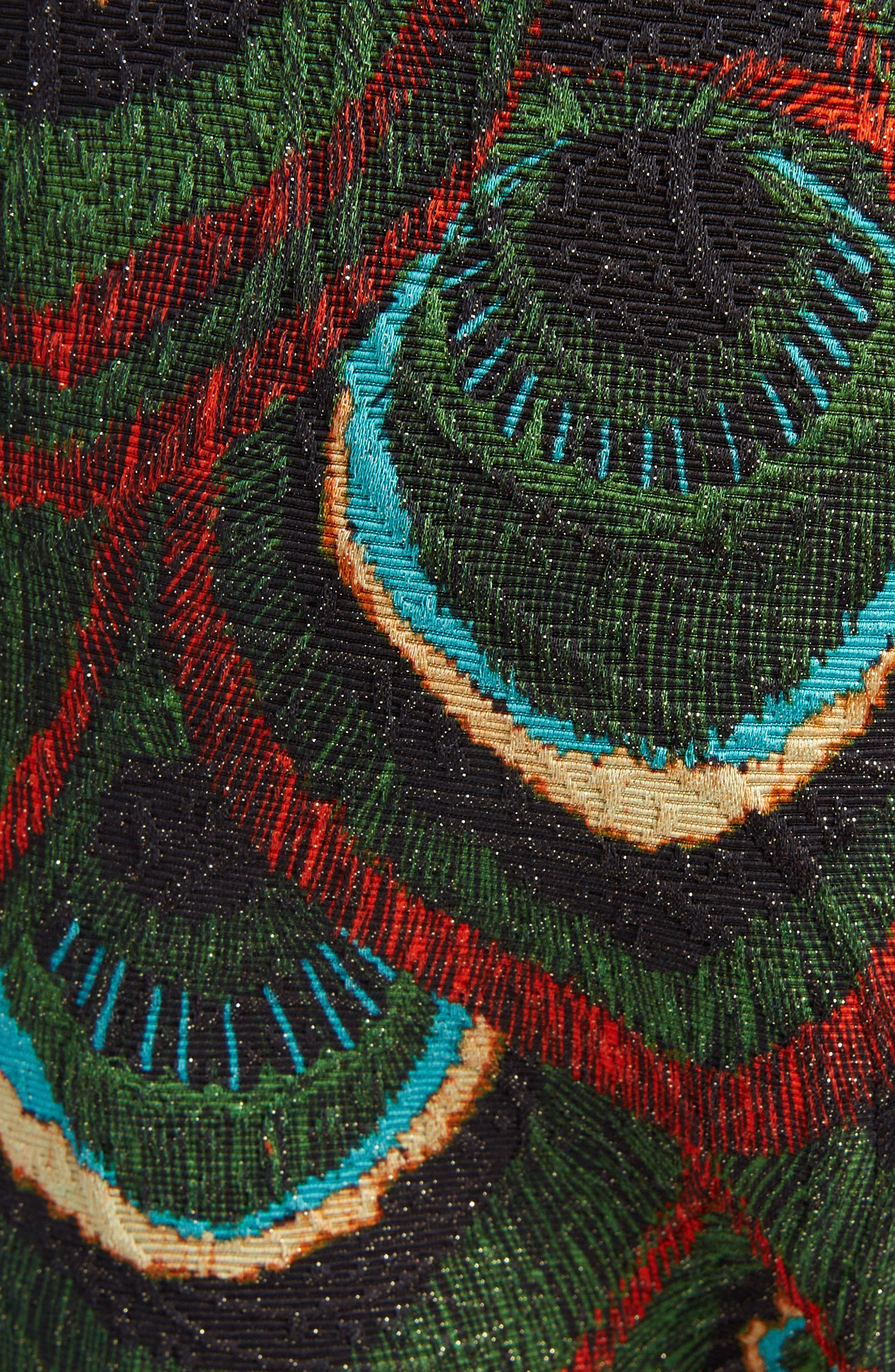 Peacock Print Crop Pants,                             Alternate thumbnail 5, color,                             300
