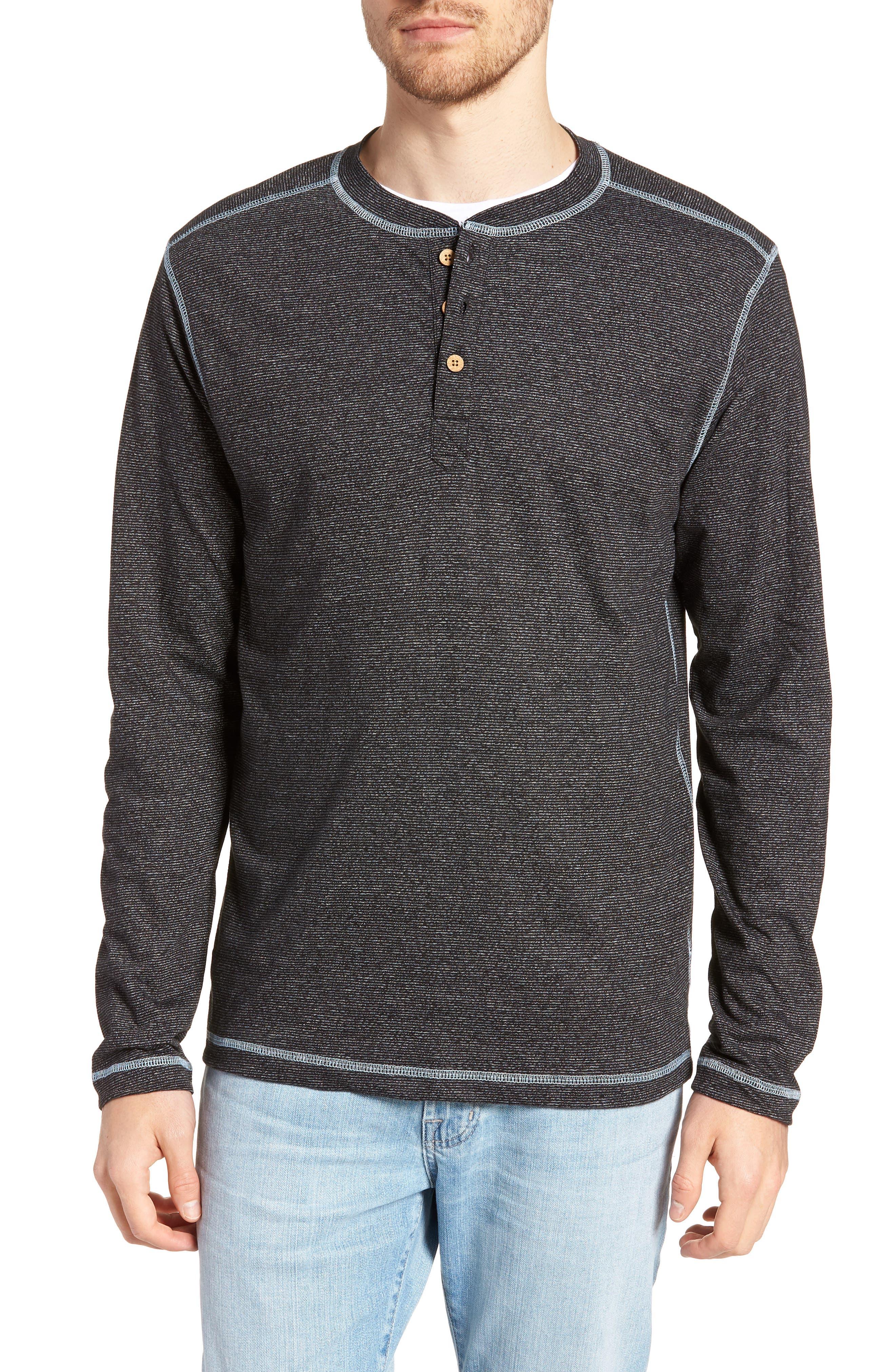 Mock Twist Long Sleeve Henley,                         Main,                         color, BLACK